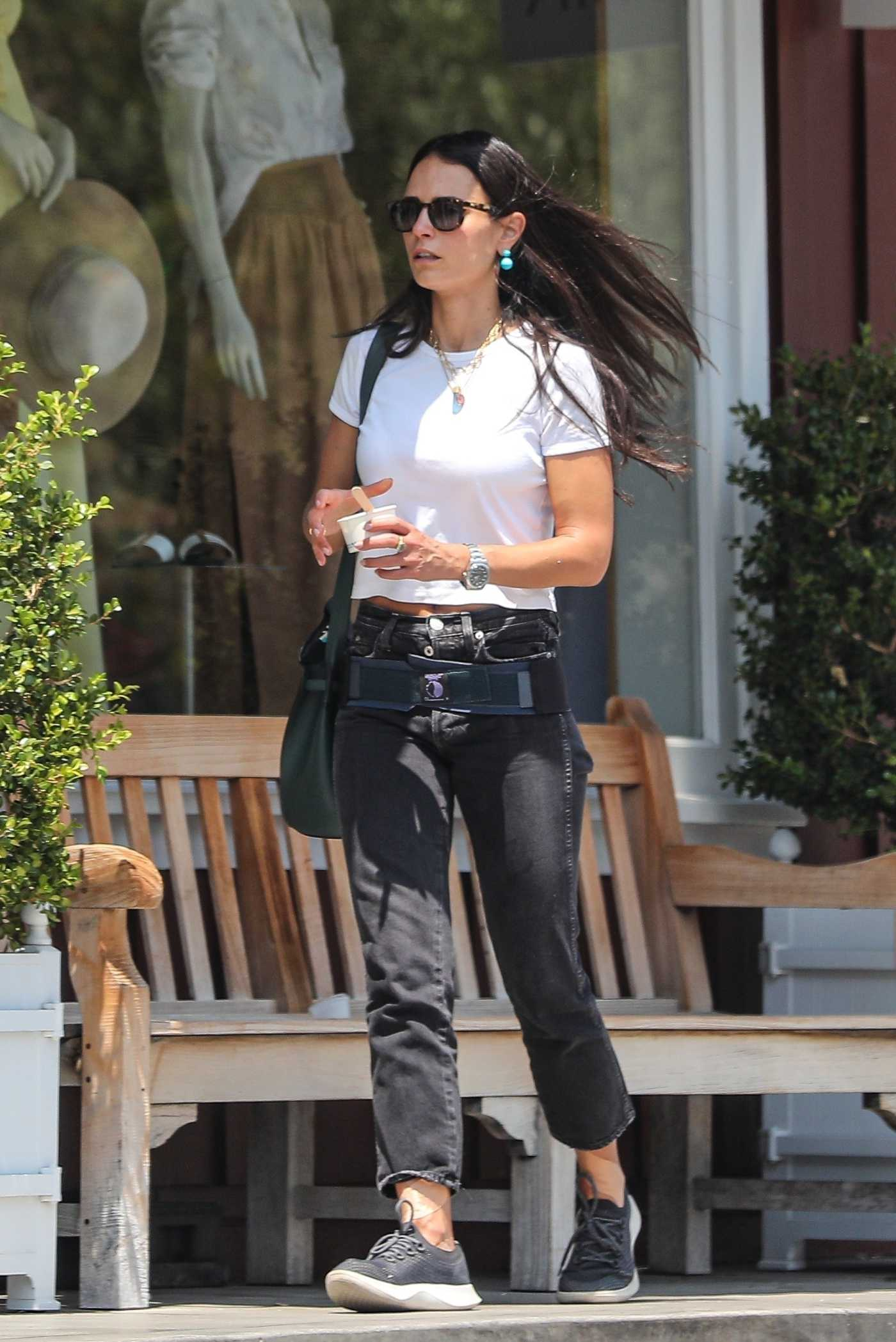 Jordana Brewster in a White Tee Was Seen Out in Brentwood 07/23/2021
