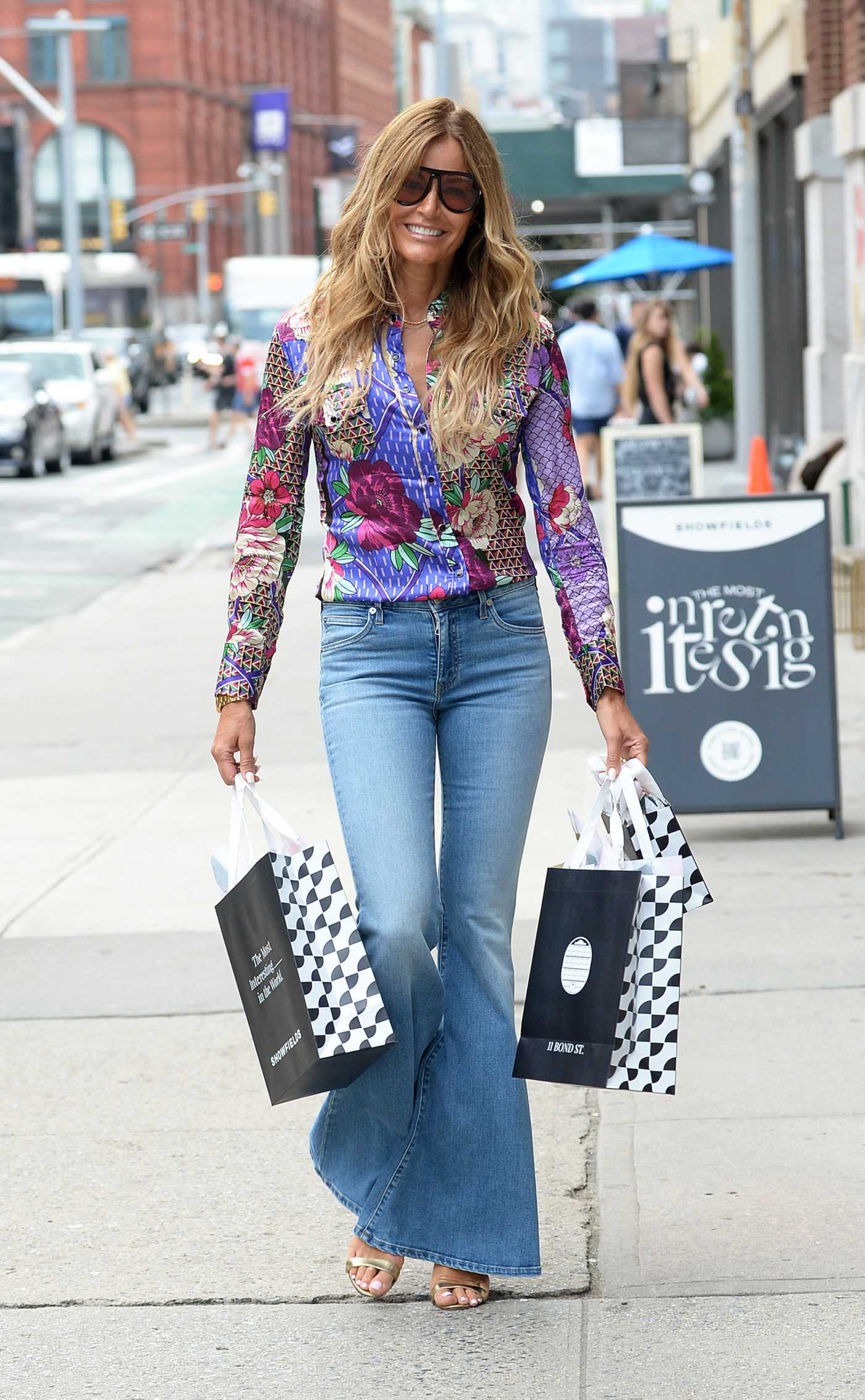 Kelly Bensimon in a Floral Shirt Goes Shopping in Soho in New York 07/18/2021