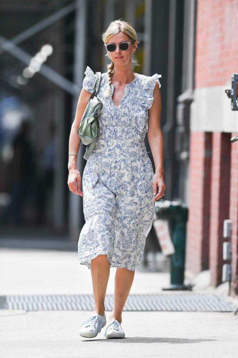 Nicky Hilton in a White Patterned Dress