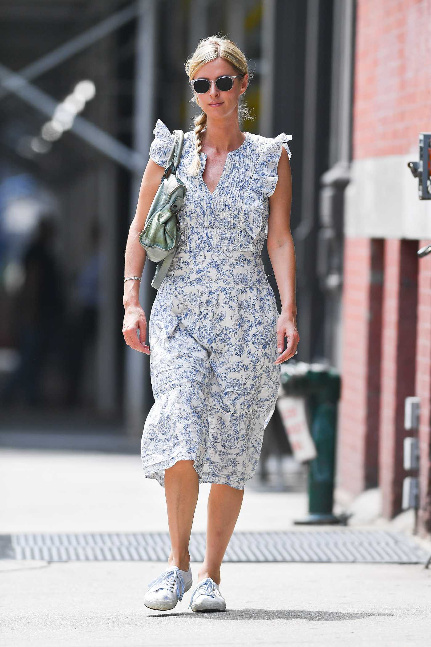 Nicky Hilton in a White Patterned Dress Was Seen Out in New York 07/26/2021