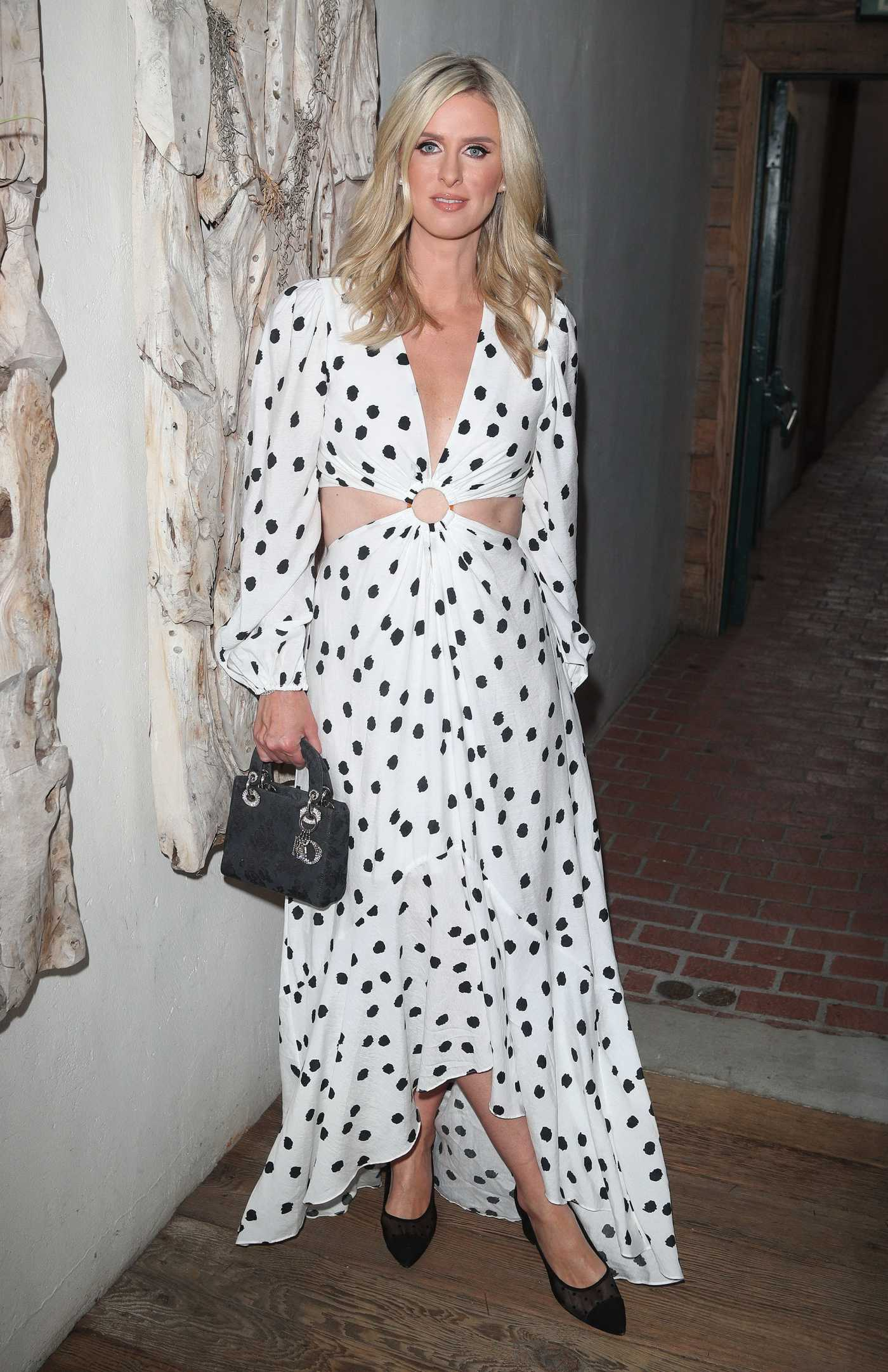 Nicky Hilton in a White Polka Dot Dress Arrives at the Fia Restaurant Out with Paris Hilton in Santa Monica 07/19/2021