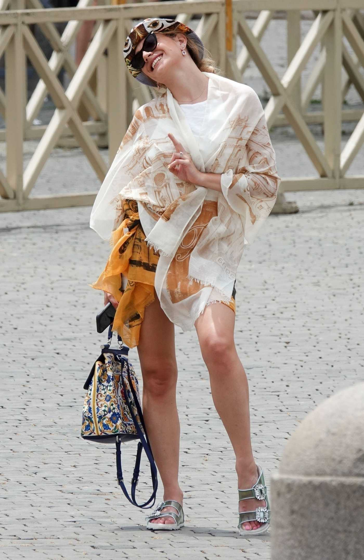 Pixie Lott in a White Top Was Seen Out in the Vatican 07/29/2021