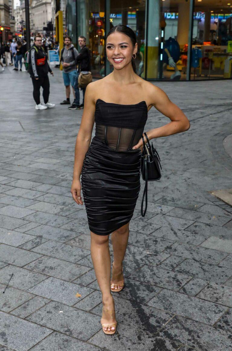 Vanessa Bauer in a Black Dress