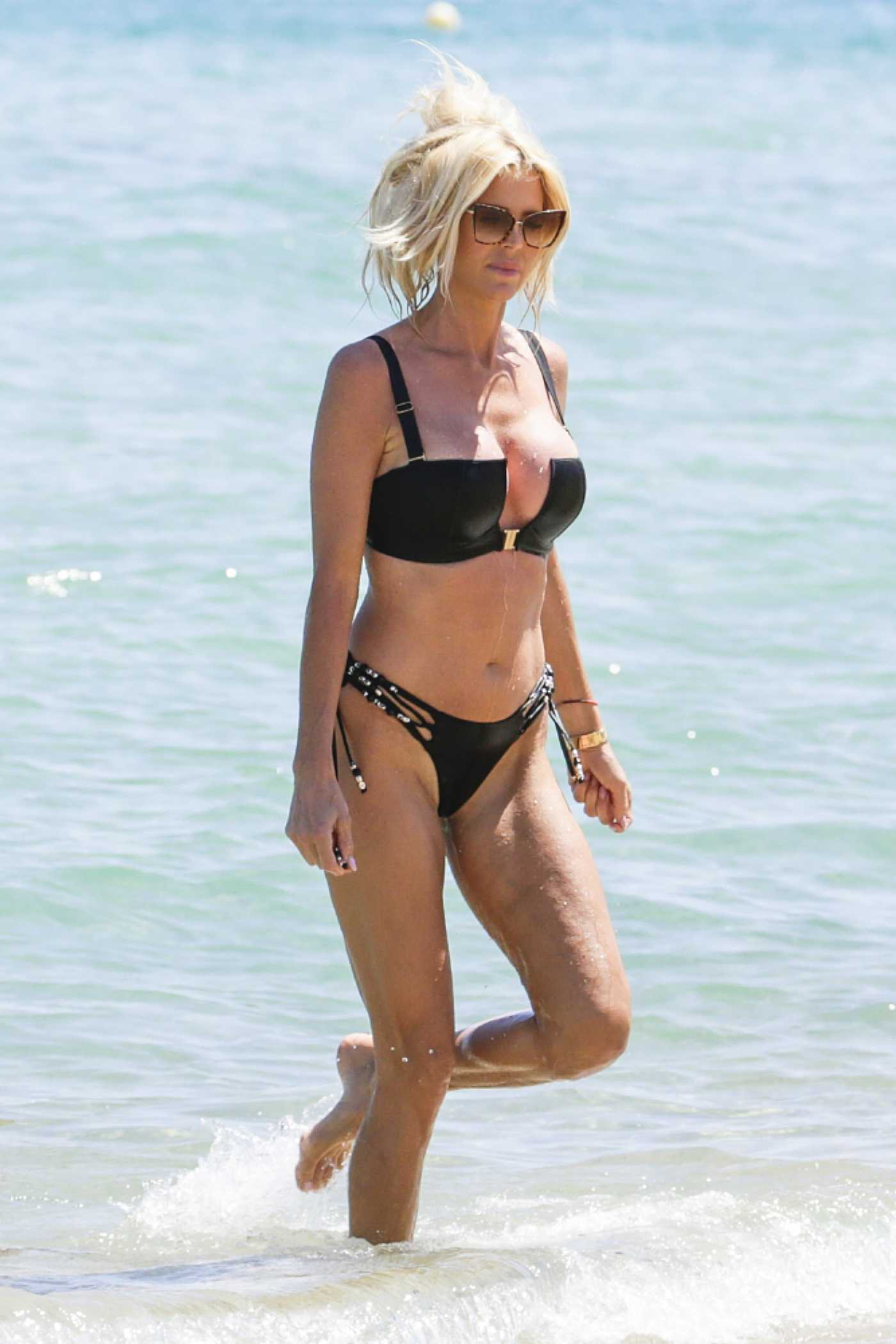 Victoria Silvstedt in a Black Bikini on the Beach in Saint Tropez 07/20/2021