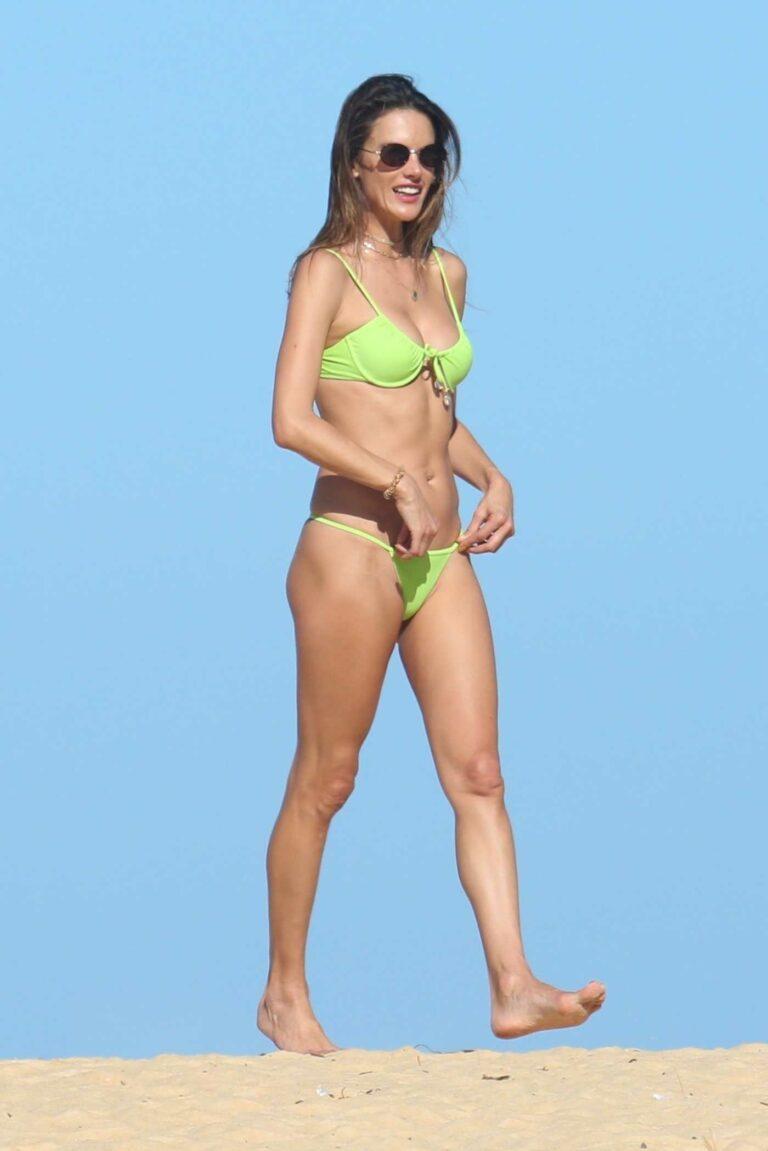 Alessandra Ambrosio in a Neon Green Bikini