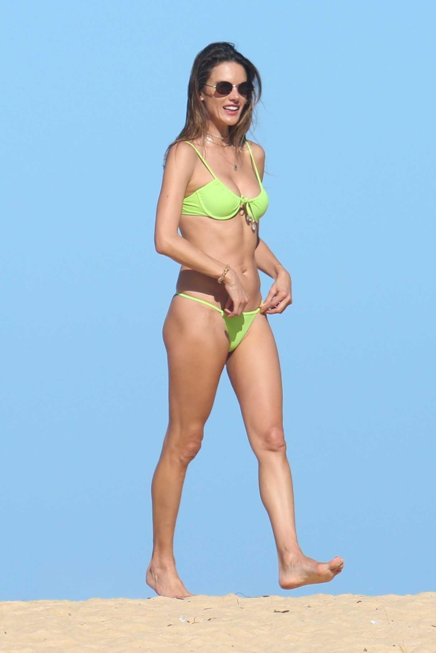 Alessandra Ambrosio in a Neon Green Bikini on the Beach in Trancoso, Brazil 07/30/2021