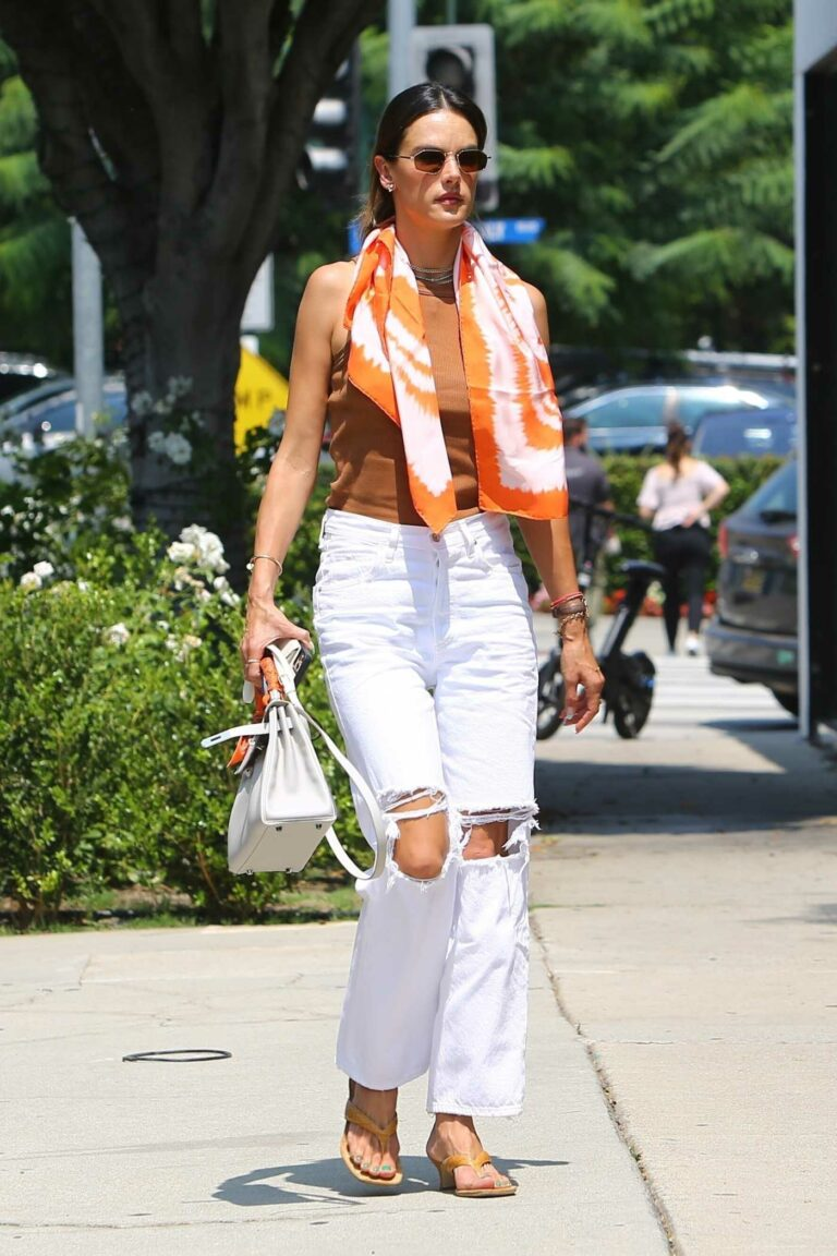 Alessandra Ambrosio in a White Ripped Jeans