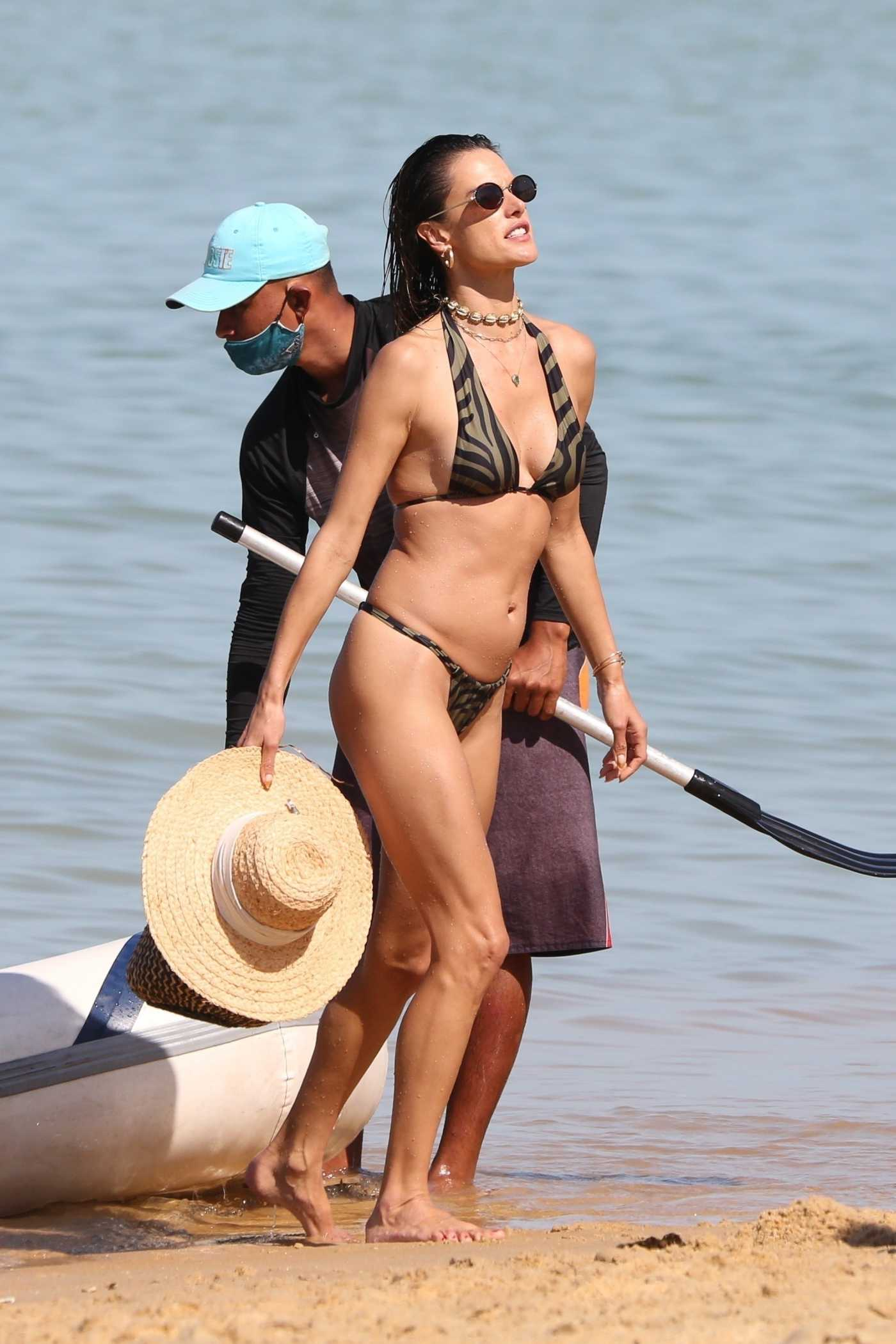Alessandra Ambrosio in a Zebra Print Bikini on the Beach in Trancoso in Brazil 08/01/2021