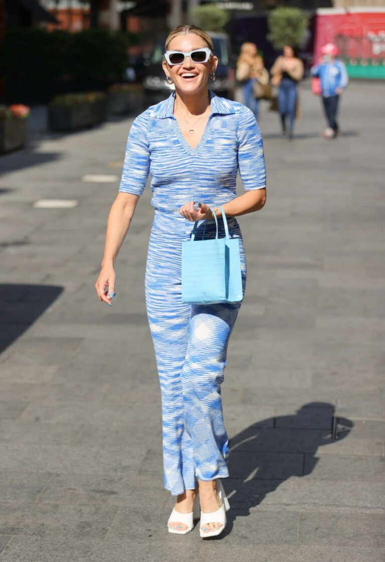 Ashley Roberts in a Blue Pantsuit