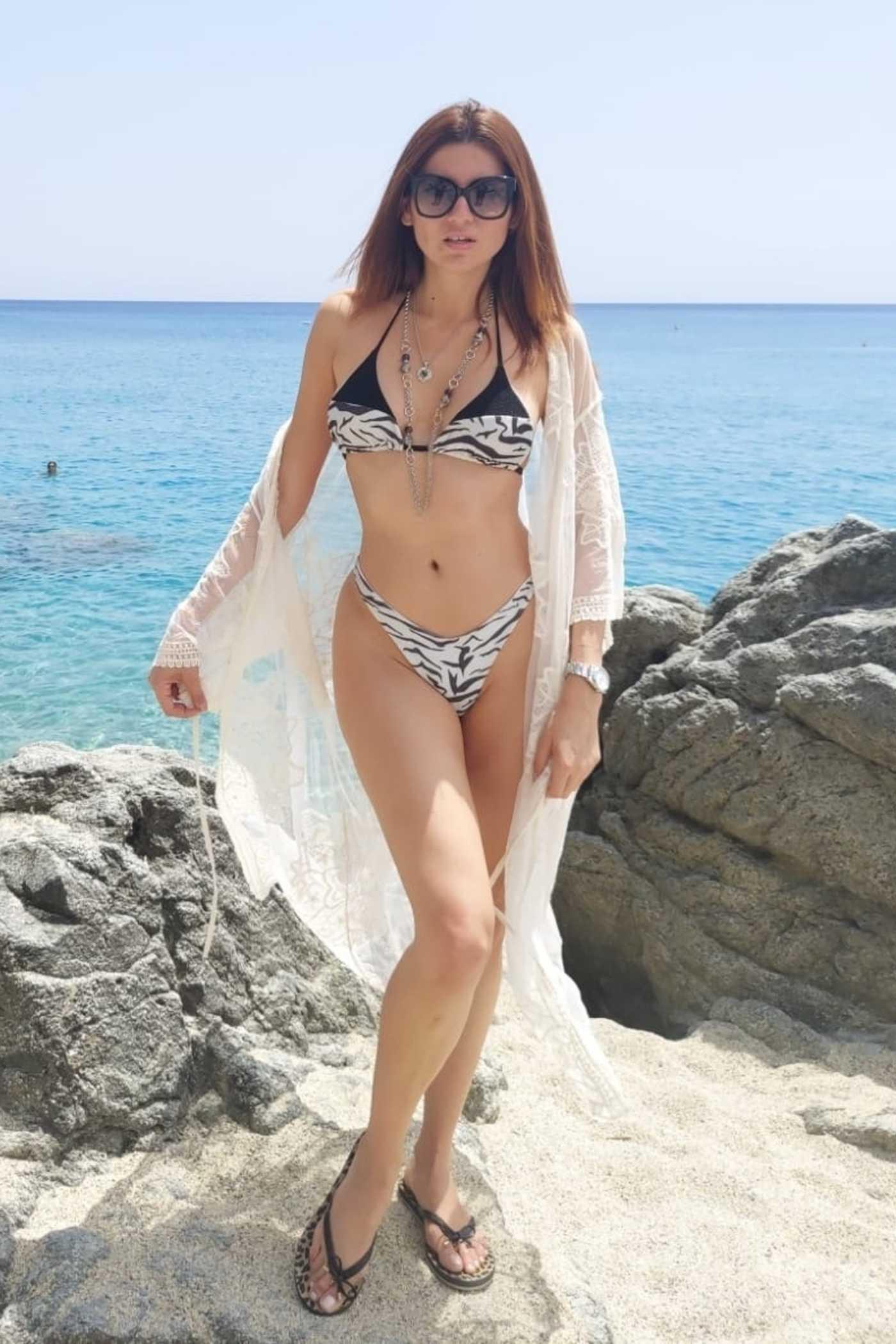 Blanca Blanco in an Animal Print Bikini on the Beach in Italy 08/04/2021
