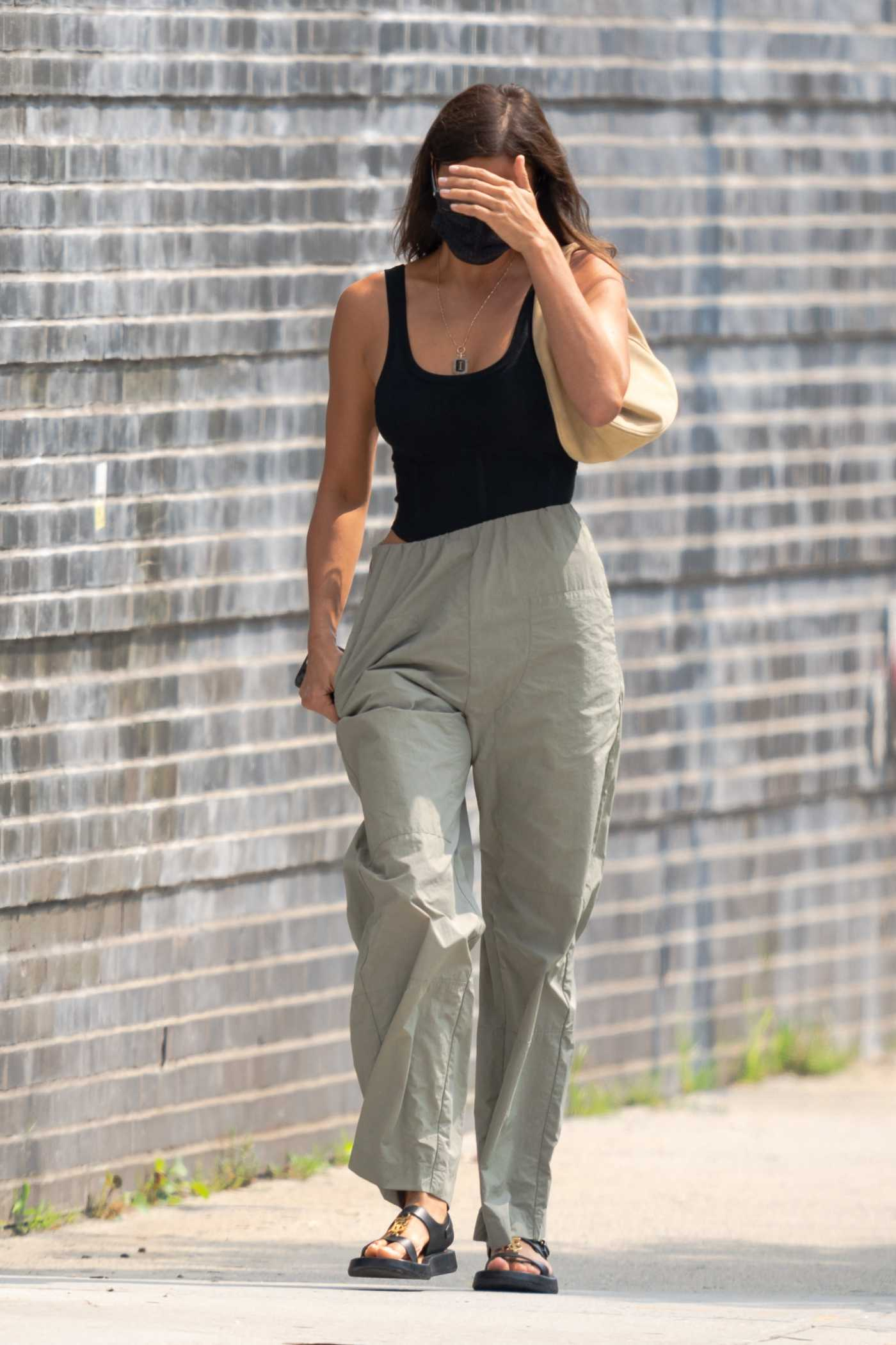 Irina Shayk in a Black Top Was Seen Out in West Village in New York 08/10/2021
