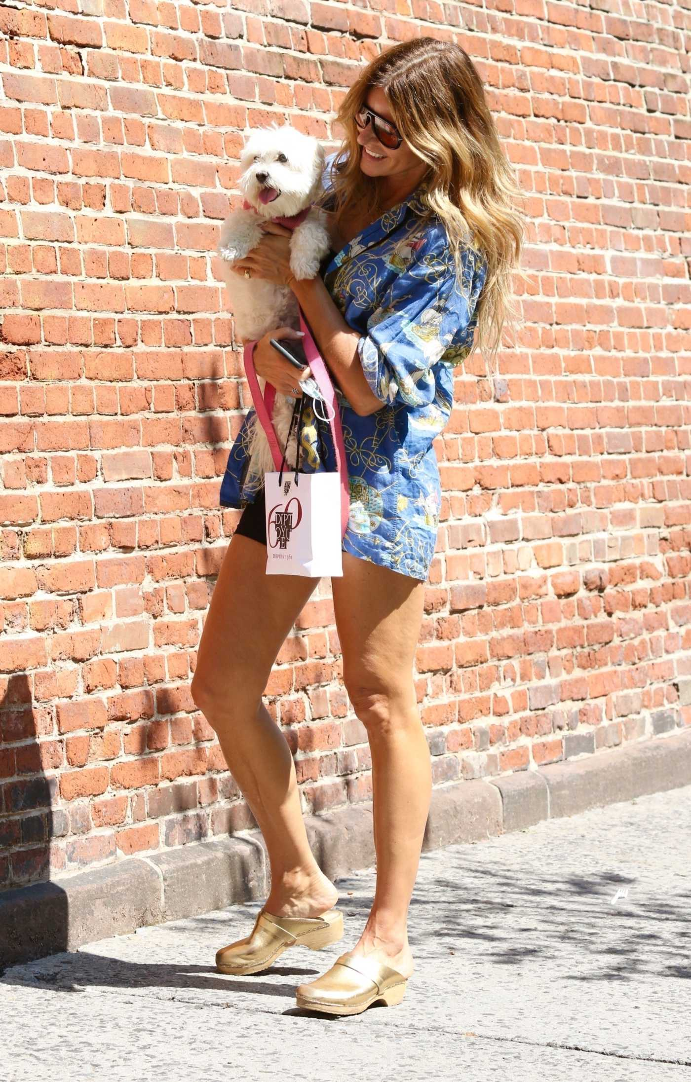 Kelly Bensimon in a Floral Shirt Walks Her Dog in NYC 08/26/2021