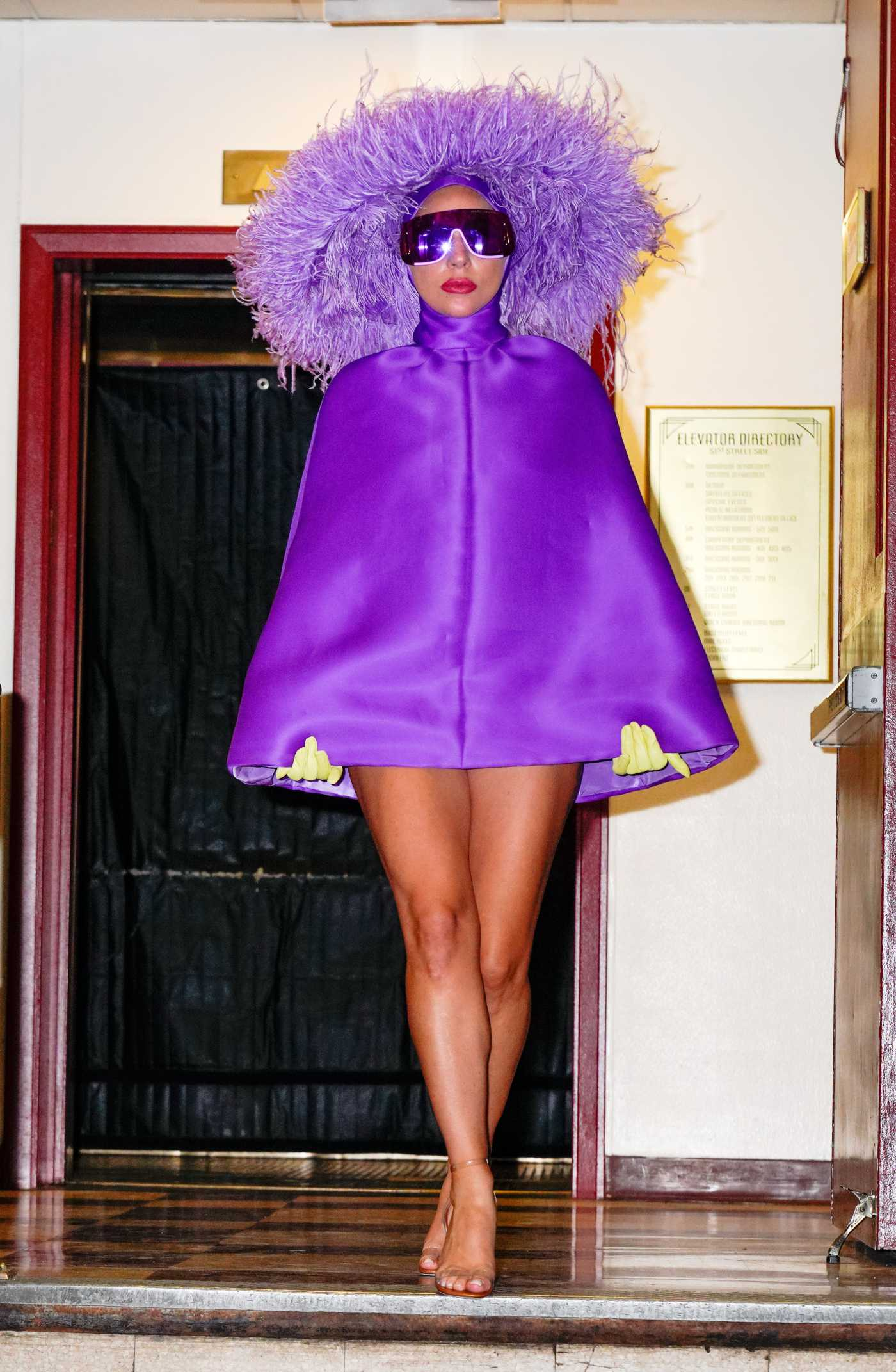 Lady Gaga in a Purple Outfit Departs the Rehearsals at Radio City Music Hall in NYC 08/01/2021