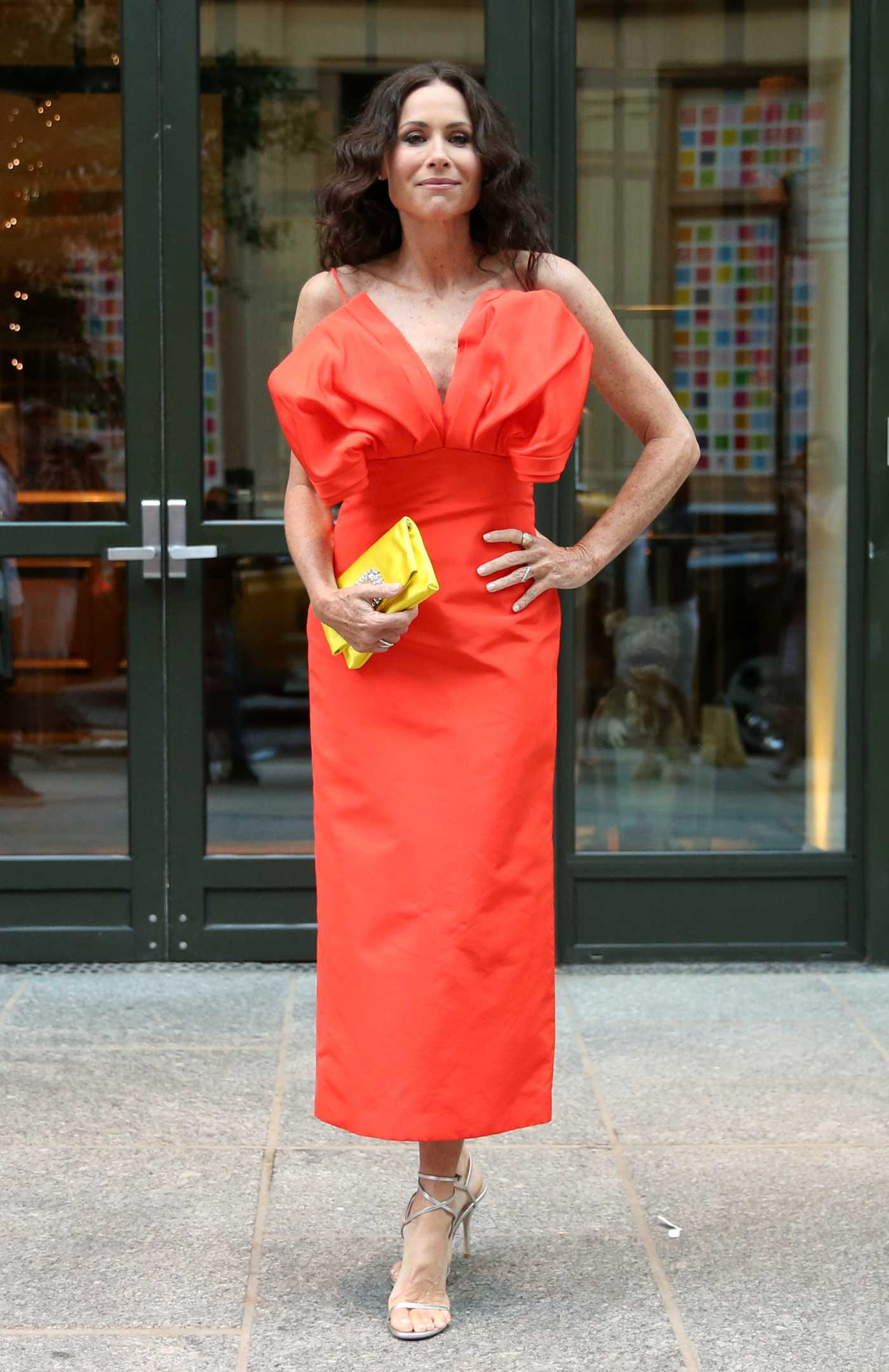 Minnie Driver in a Red Dress Arrives for the Premiere of Modern Love in New York 08/02/2021