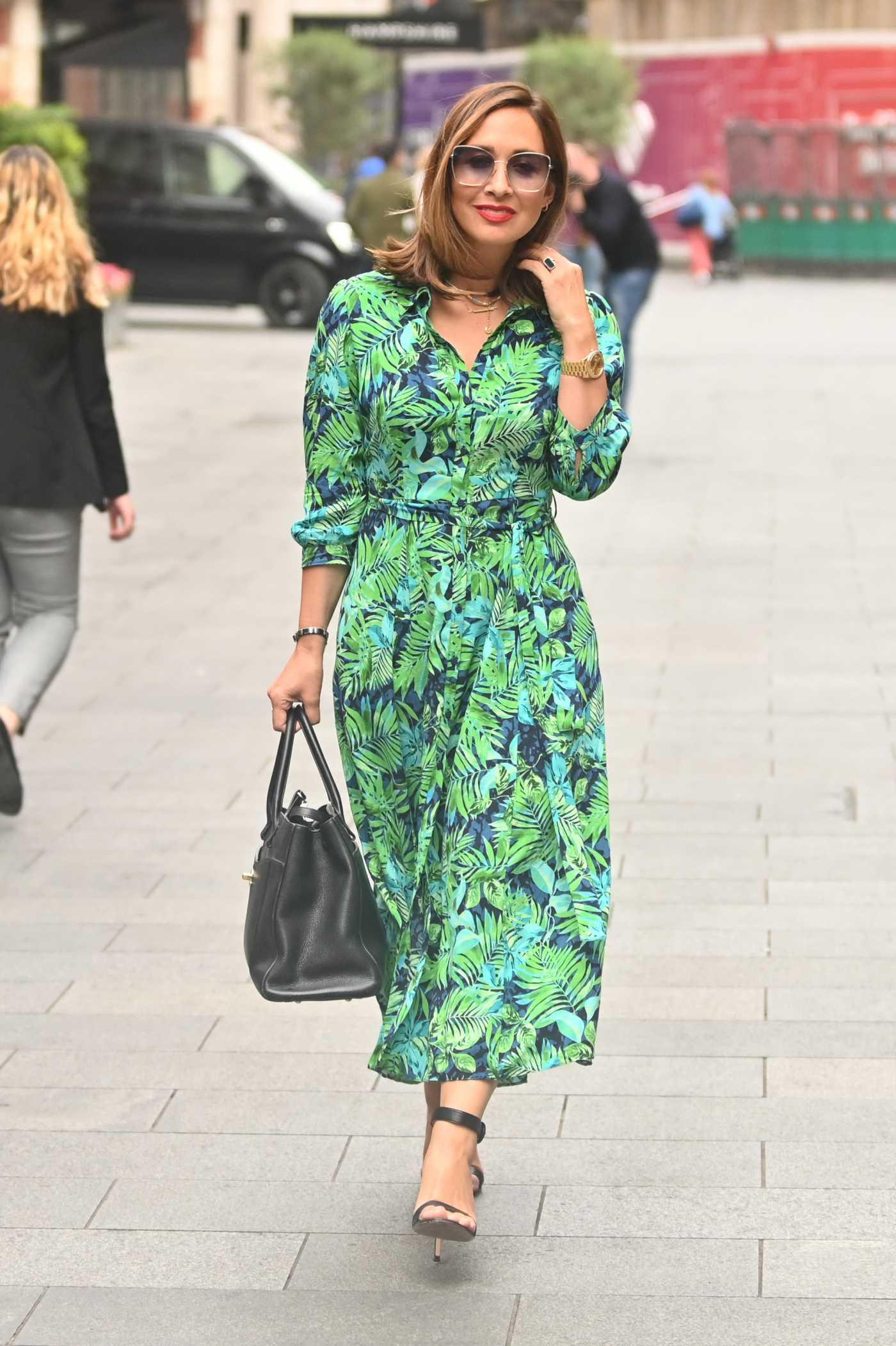 Myleene Klass in a Green Dress Leaves the Global Radio in London 08/16/2021