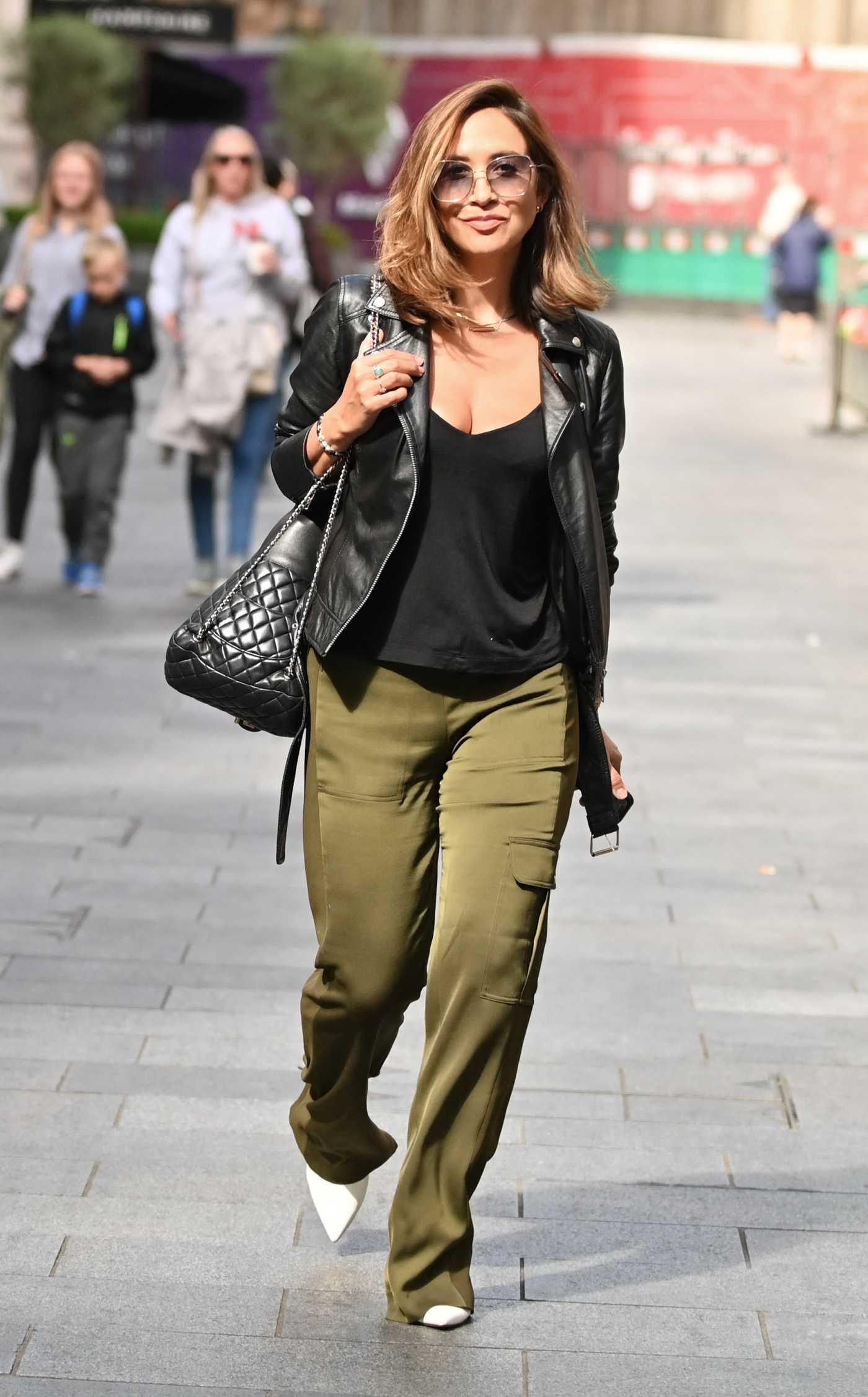 Myleene Klass in an Olive Pants Leaves the Global Radio Studios in London 08/18/2021