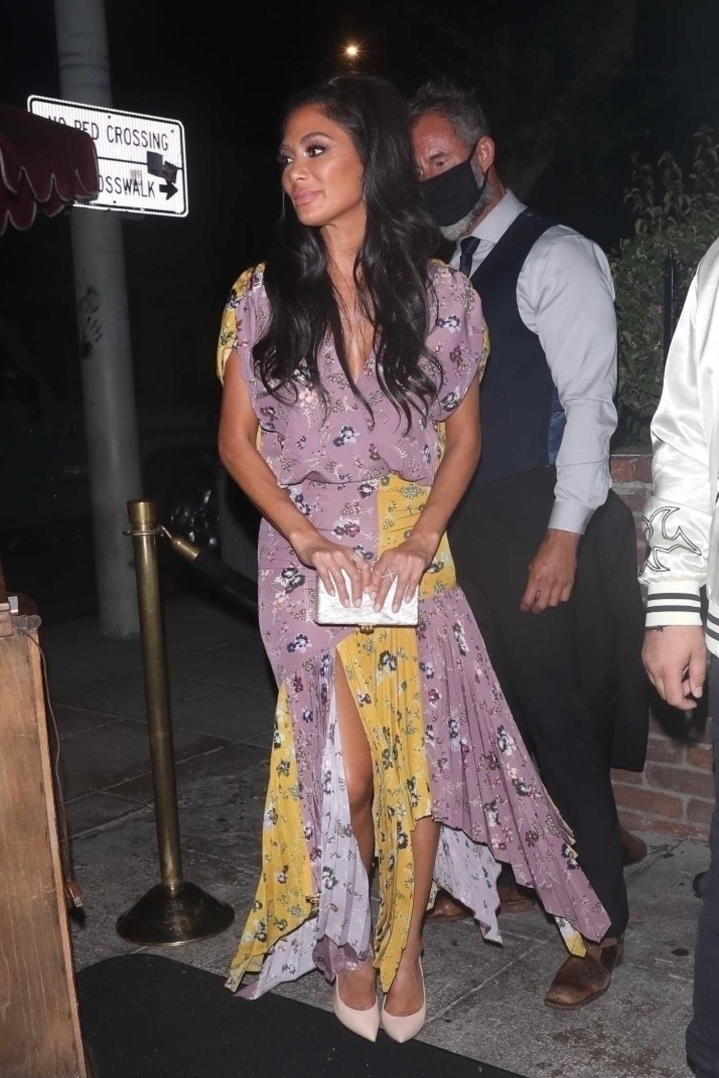 Nicole Scherzinger in a Floral Dress Arrives at Delilah in West Hollywood 08/02/2021