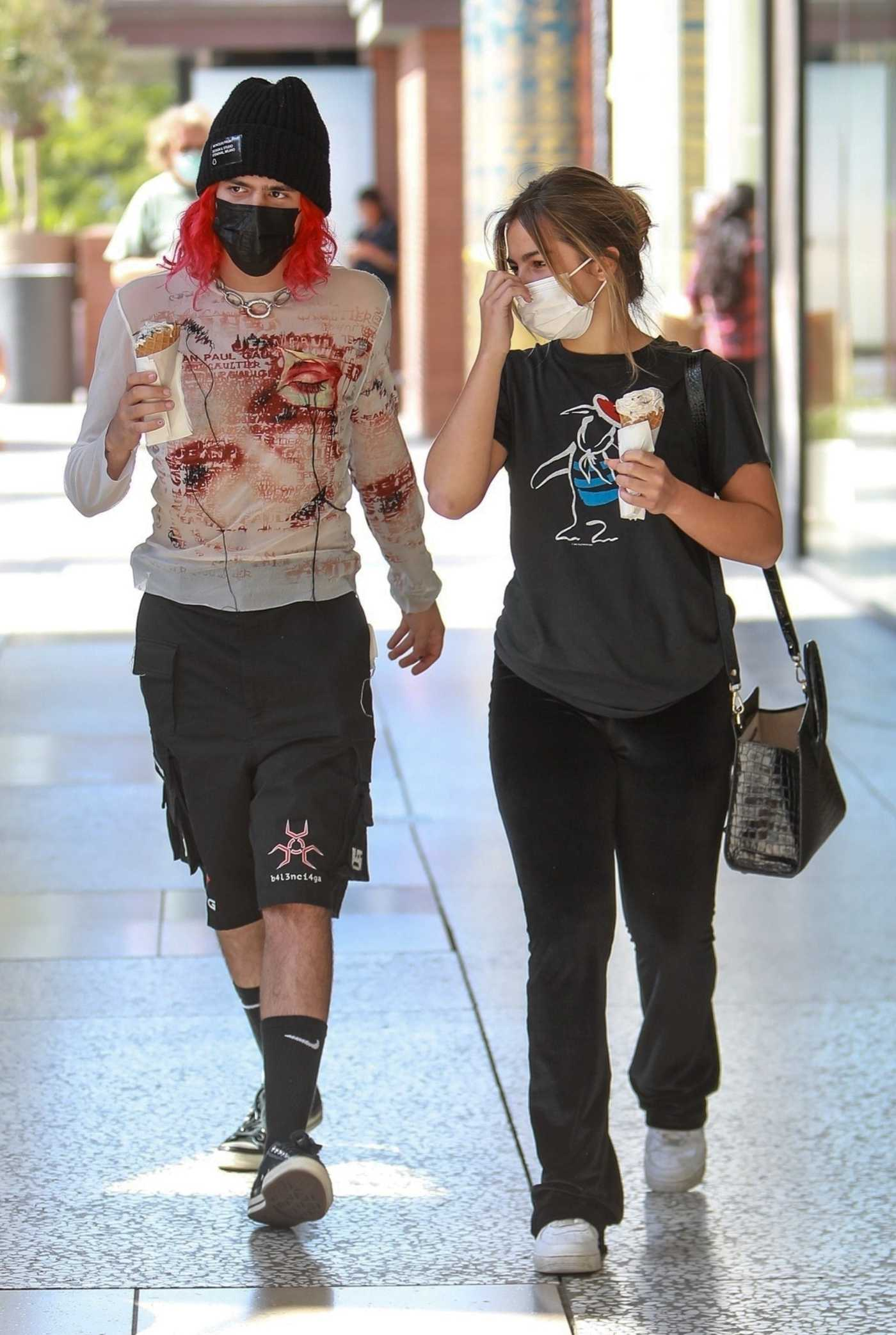 Addison Rae in a Black Tee Was Seen Out with Her Boyfriend Omer Fedi in Los Angeles 09/02/2021