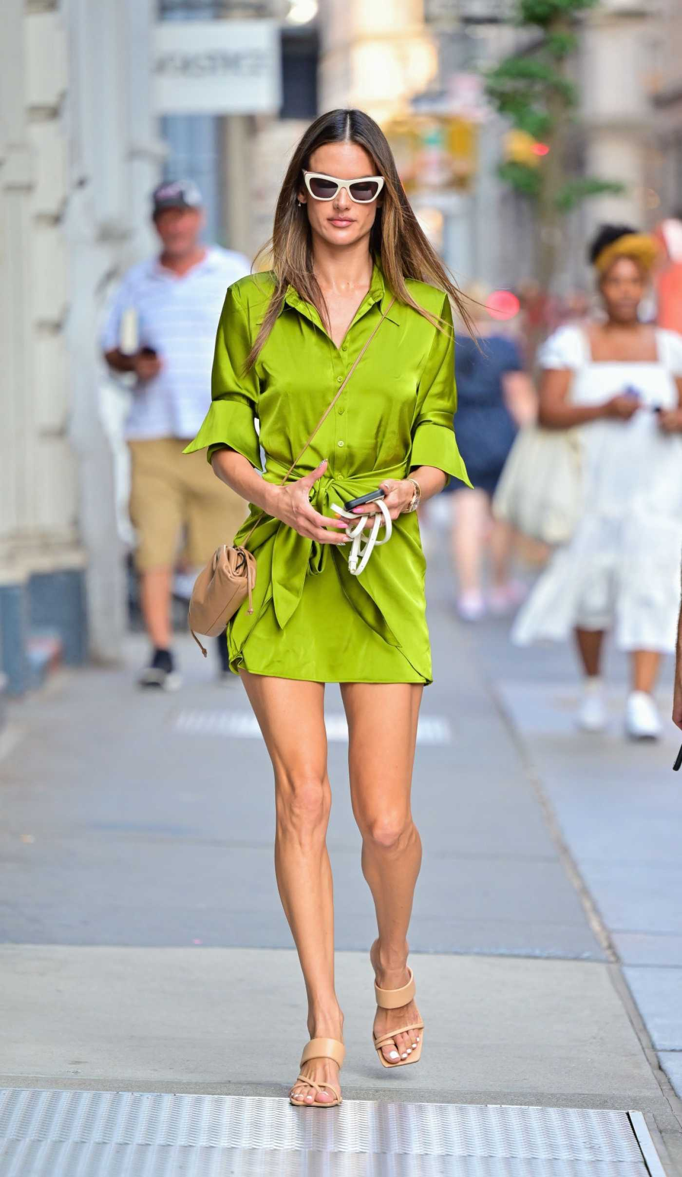 Alessandra Ambrosio in a Neon Green Mini Dress Was Seen Out in SoHo in New York City 09/08/2021