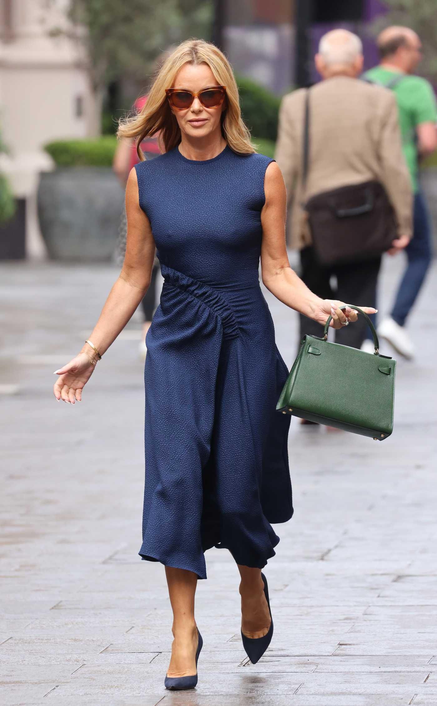 Amanda Holden in a Blue Dress Leaves the Global Radio Studios in London 09/17/2021