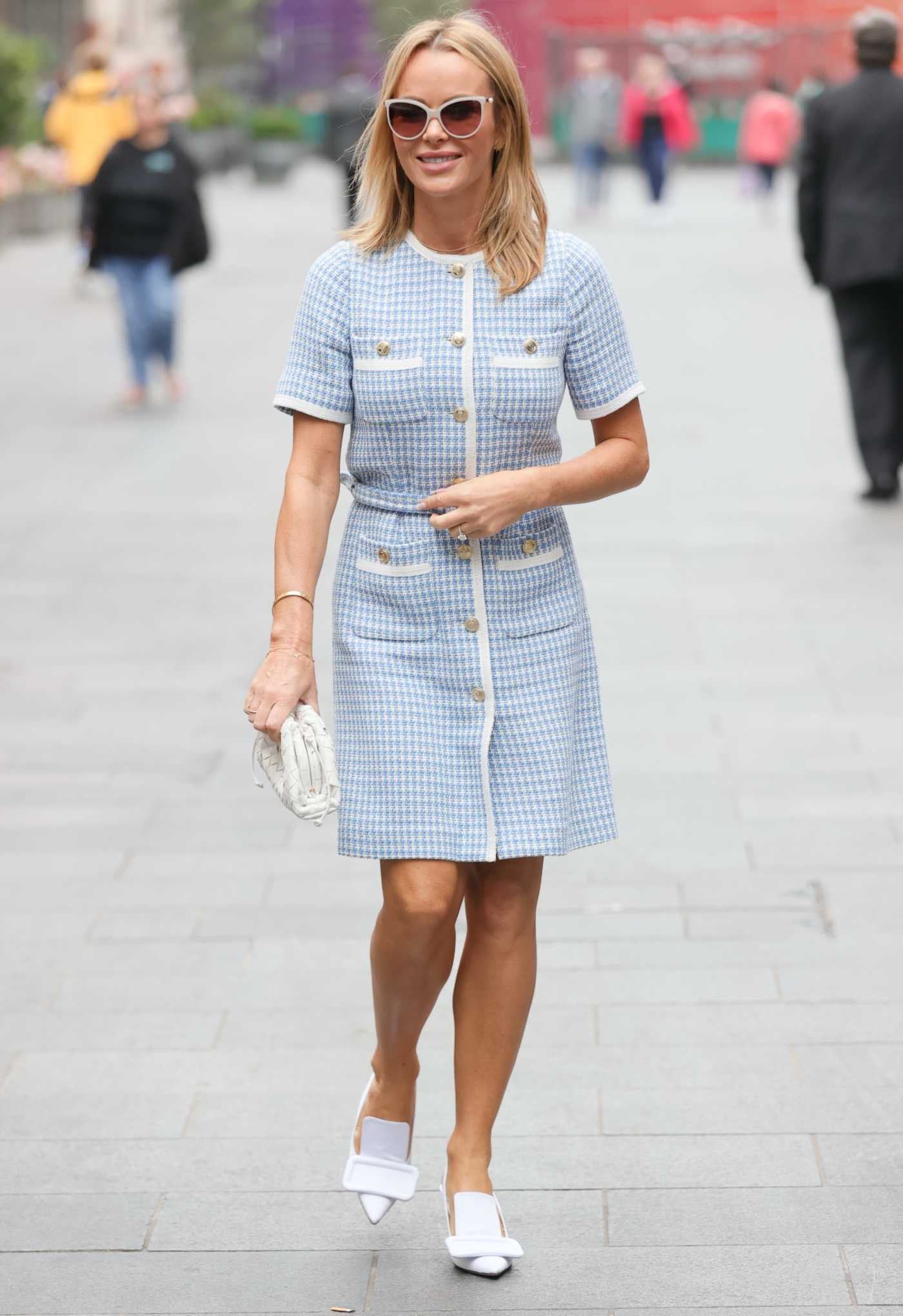 Amanda Holden in a Blue Dress Leaves the Heart Radio in London 09/20/2021