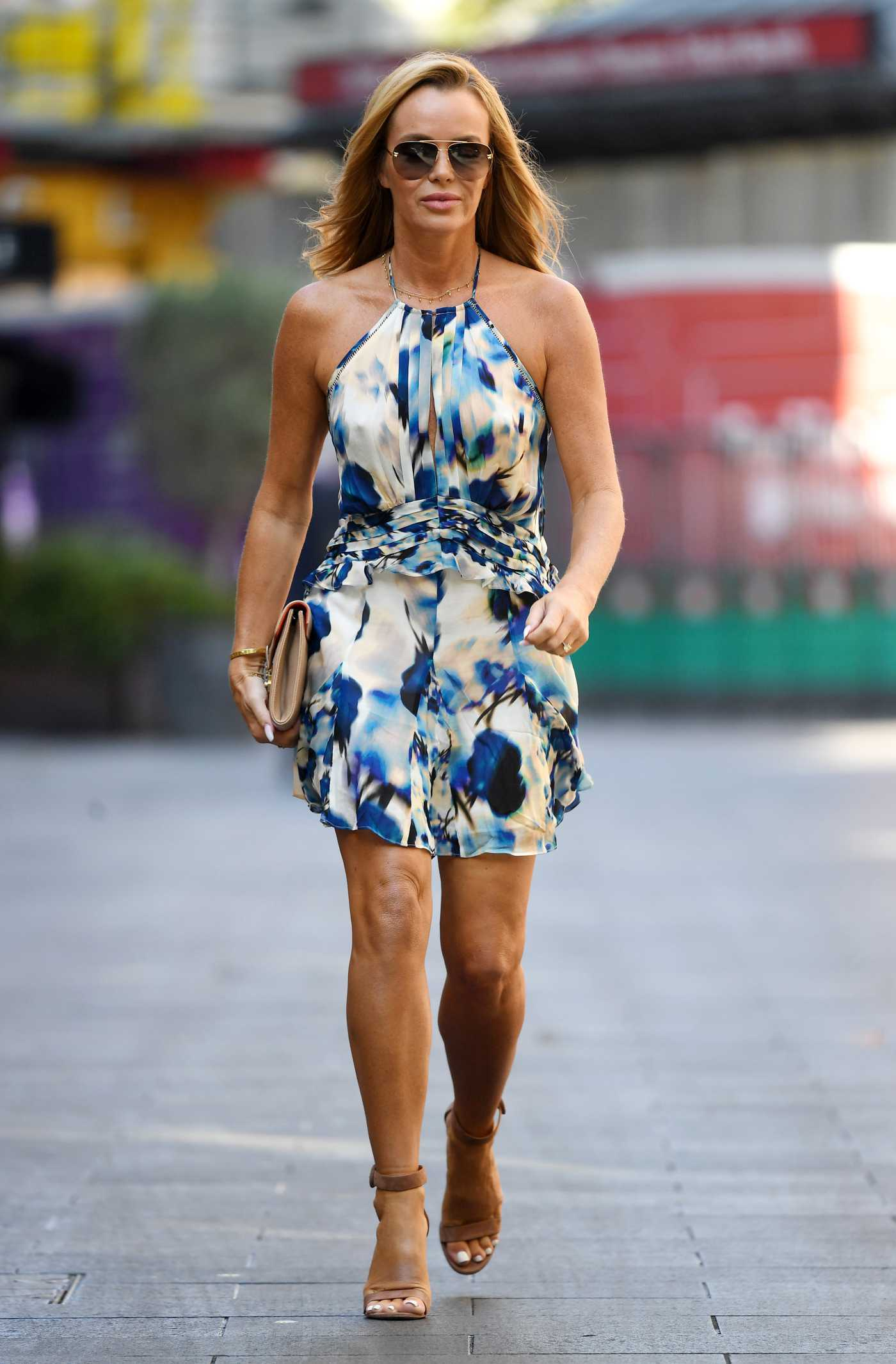 Amanda Holden in a Blue Floral Mini Dress Leaves the Global Radio Studios in London 09/08/2021