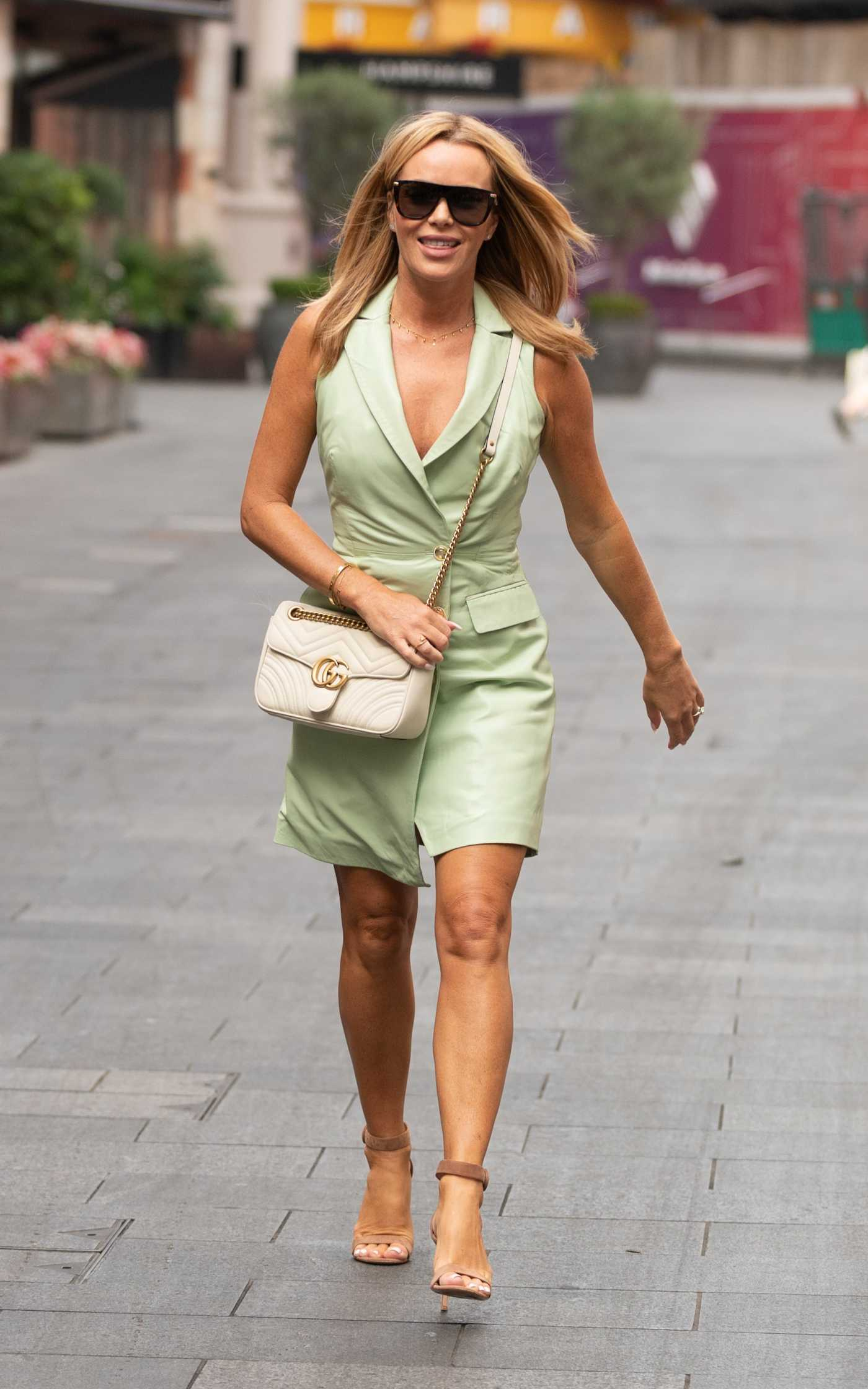 Amanda Holden in a Light Green Dress Arrives at the Global Radio in London 09/06/2021