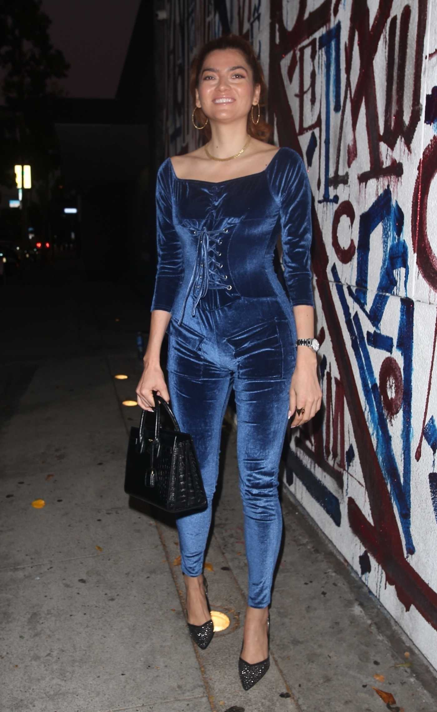 Blanca Blanco in a Blue Catsuit Arrives for Dinner at Craig's in West Hollywood 09/19/2021