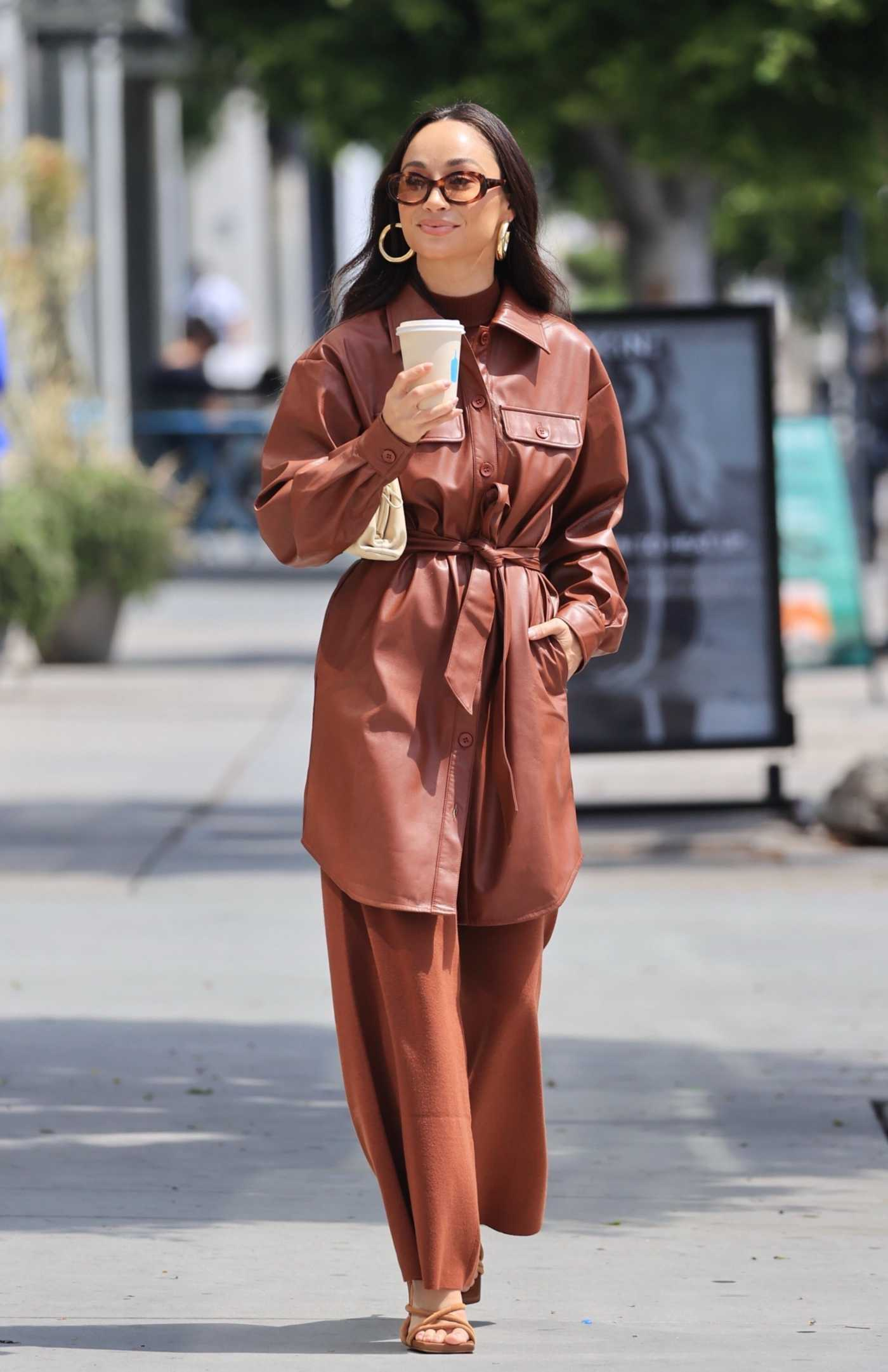 Cara Santana in a Brown Outfit Was Seen Out in West Hollywood 09/02/2021