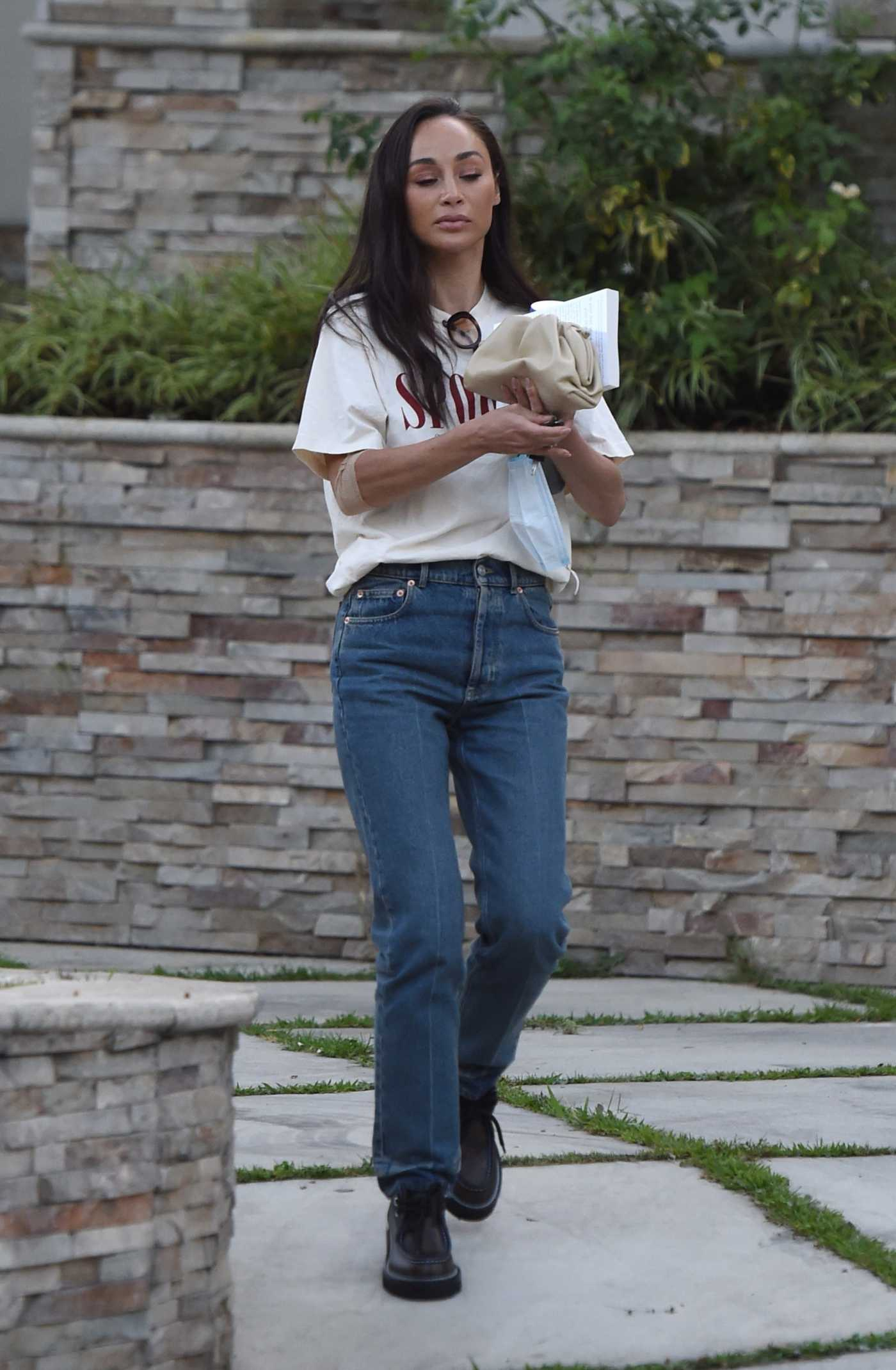 Cara Santana in a White Tee Leaves a Friend's House in Los Angeles 09/02/2021