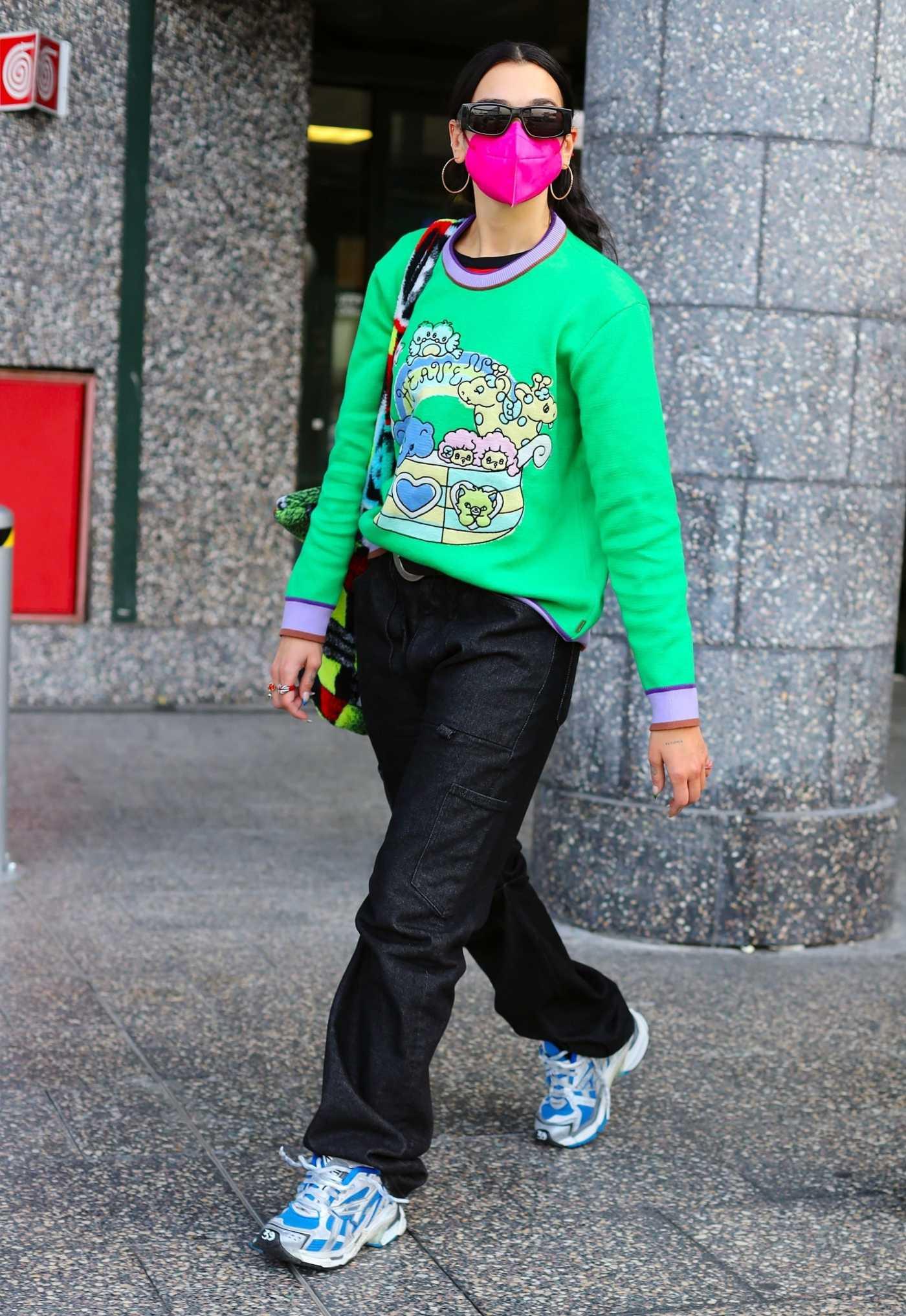 Dua Lipa in a Green Sweatshirt Was Seen Out in Milan 09/23/2021