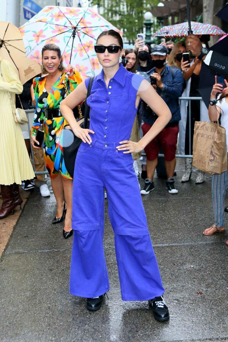 Gigi Hadid in a Purple Ensemble