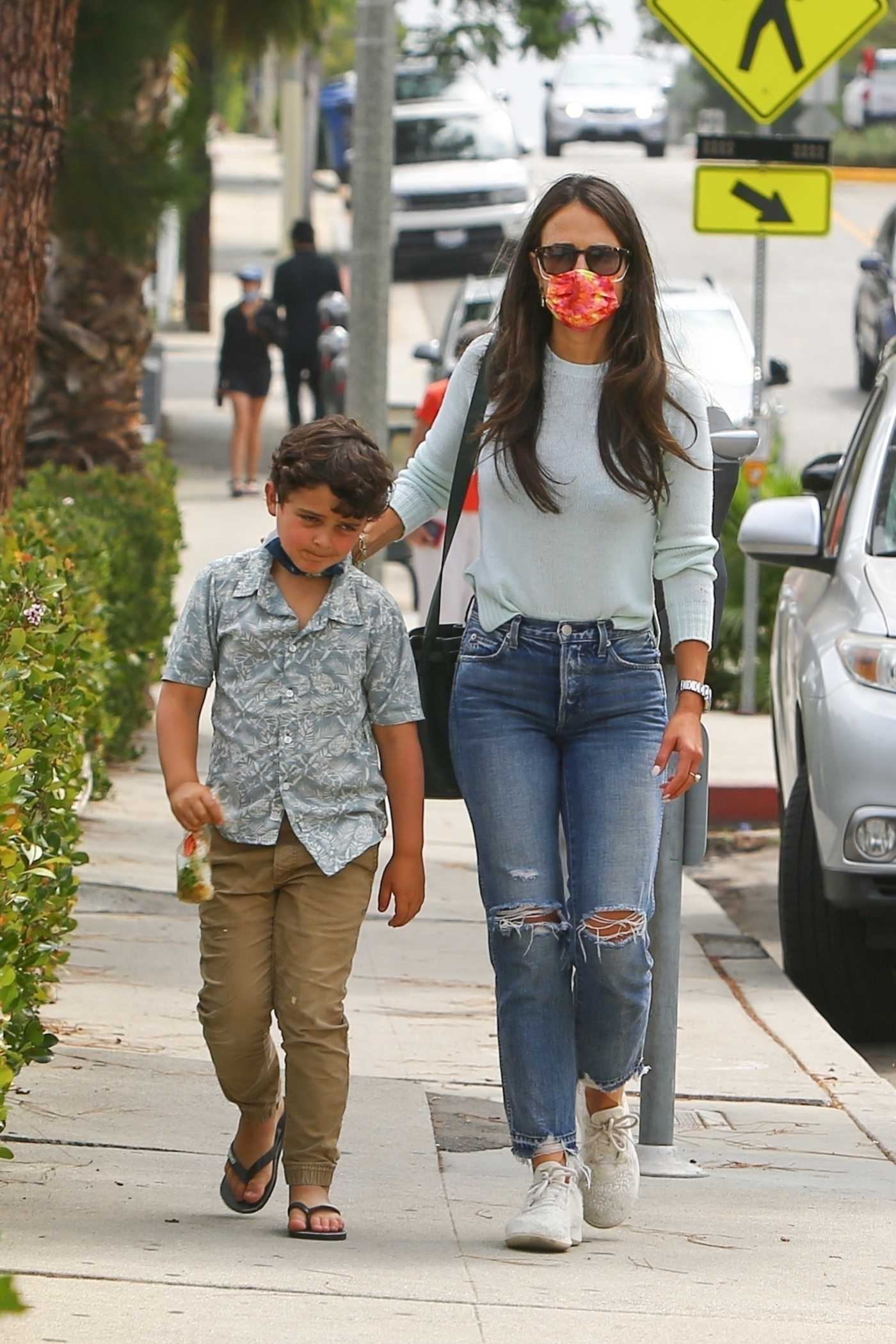 Jordana Brewster in a White Sneakers Was Seen Out with Her Son Julian in Brentwood 08/31/2021