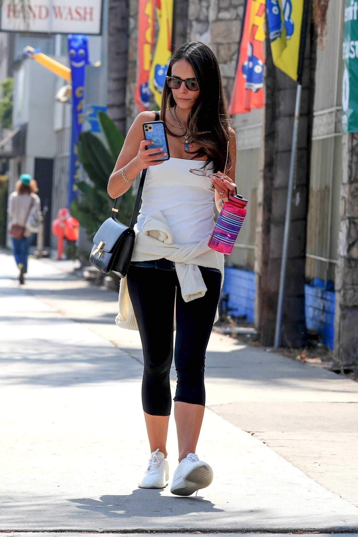 Jordana Brewster in a White Top Goes Shopping in West Hollywood 09/17/2021