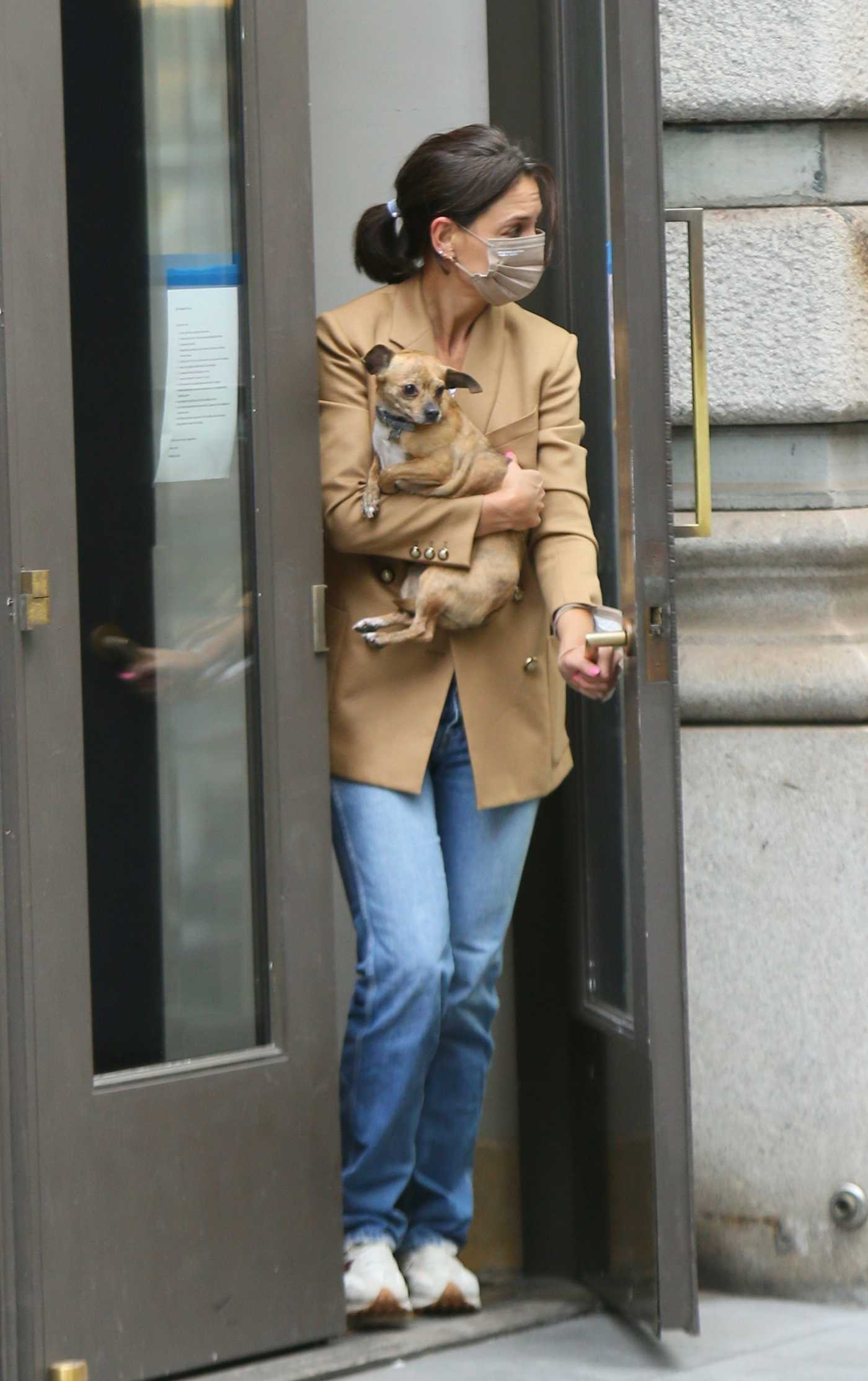 Katie Holmes in a Beige Blazer Was Seen Out with Her Dogs in New York 09/17/2021