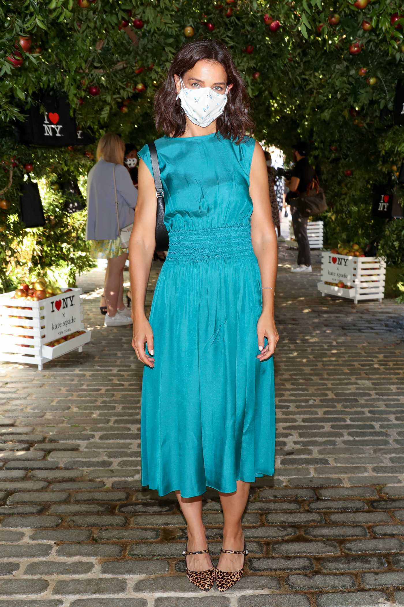 Katie Holmes in a Blue Dress Attends the Kate Spade New York Popup Installation VIP Opening Party in New York City 09/08/2021
