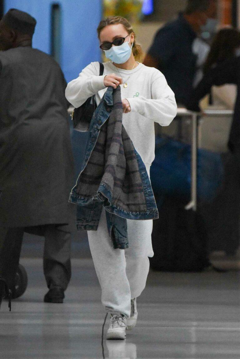 Lily-Rose Depp in a Grey Sweatsuit
