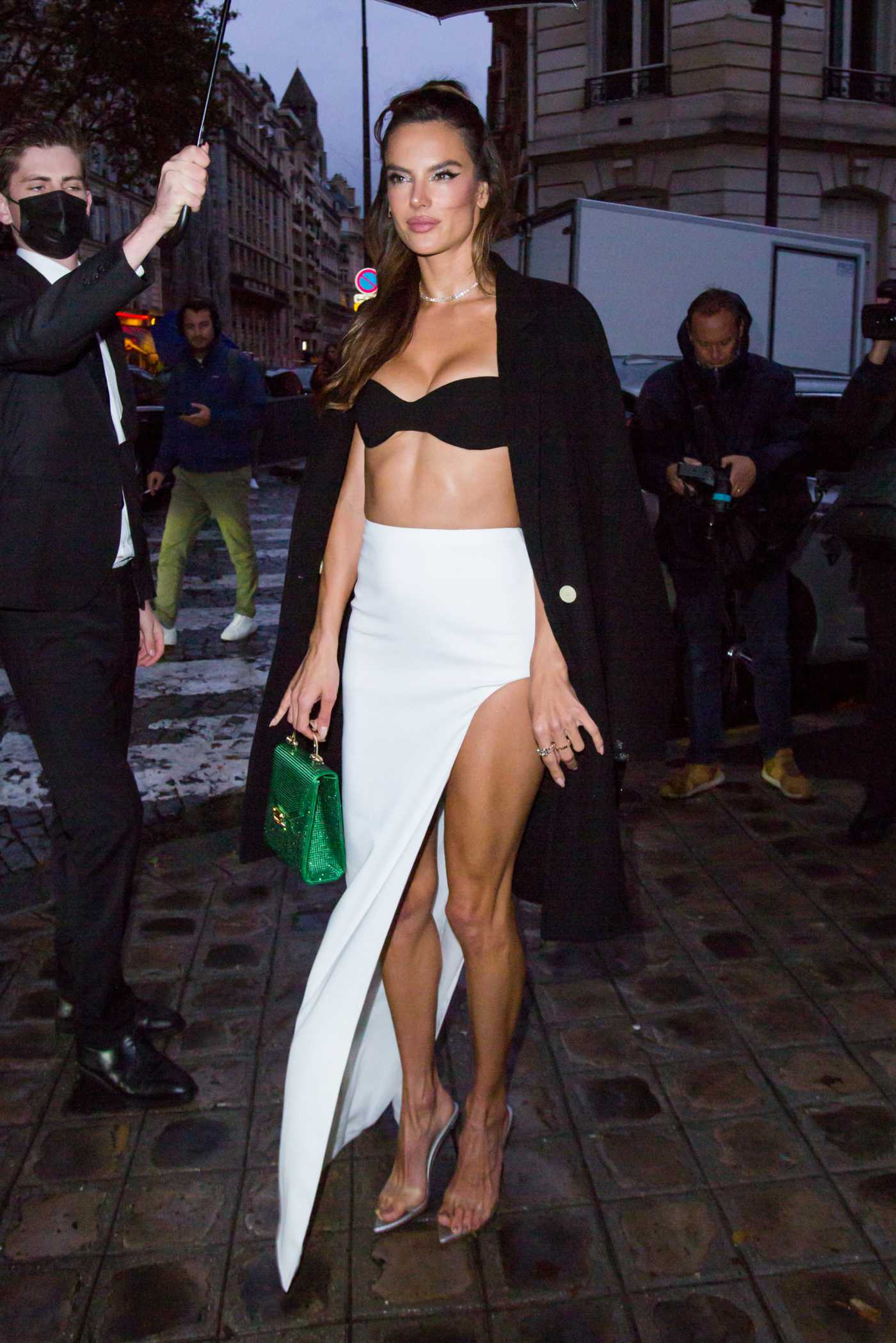 Alessandra Ambrosio Arrives at the Vogue Paris Celebrating its 100th Anniversary at the Palais Galliera in Paris 10/01/2021