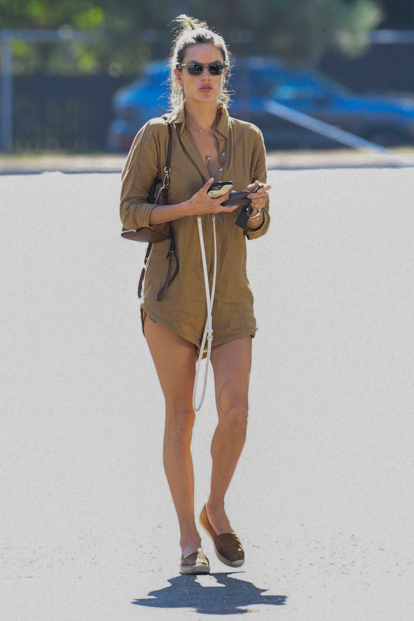 Alessandra Ambrosio in a Tan Shorts Jumpsuit Was Seen Out in Los Angeles 10/05/2021