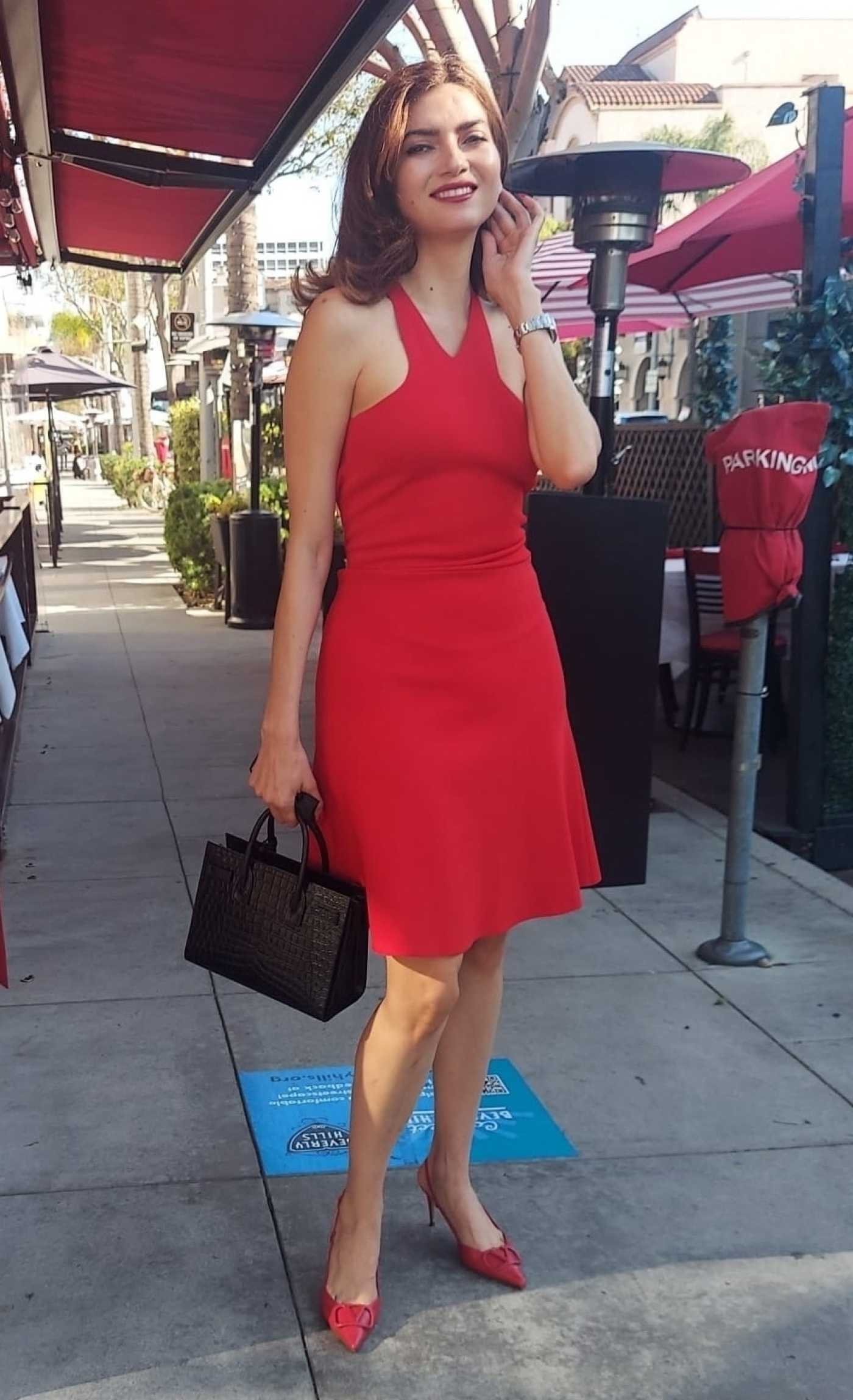 Blanca Blanco in a Red Dress Was Seen Out in Beverly Hills 10/02/2021