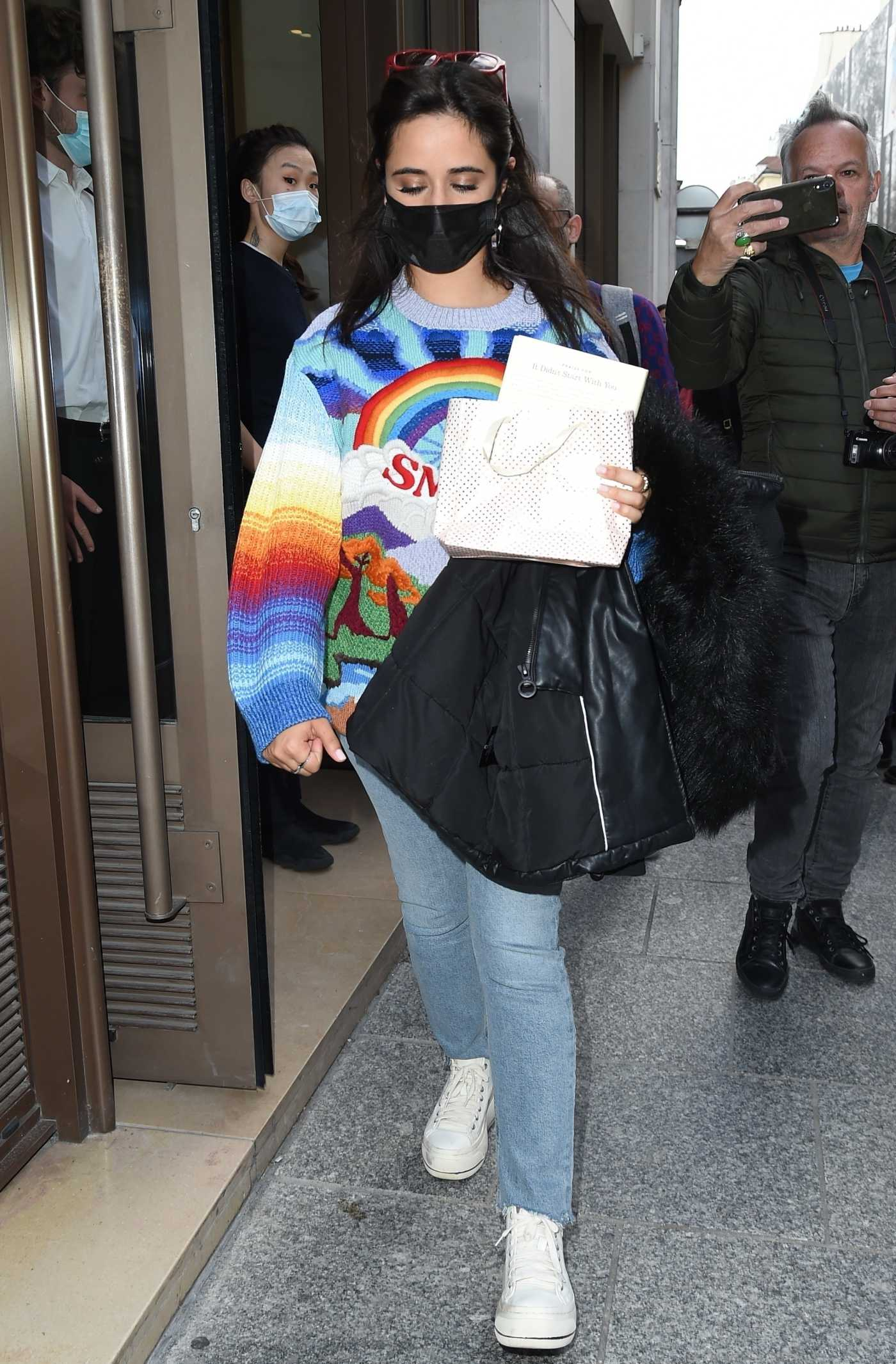 Camila Cabello in a Black Protective Mask Leaves Her Hotel in Paris 10/05/2021