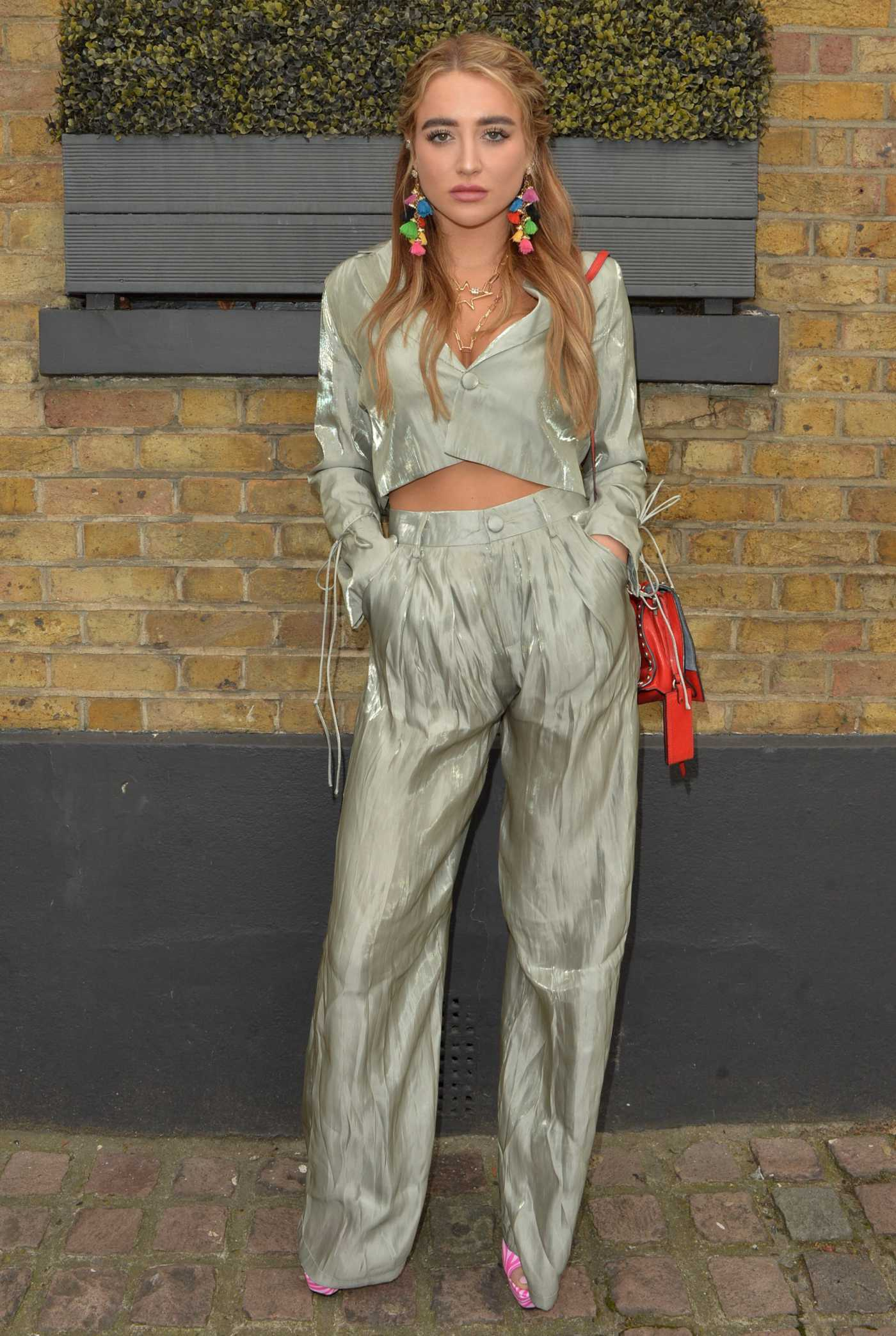 Georgia Harrison in an Olive Pantsuit Arrives at Gallery Bar in Essex 10/11/2021