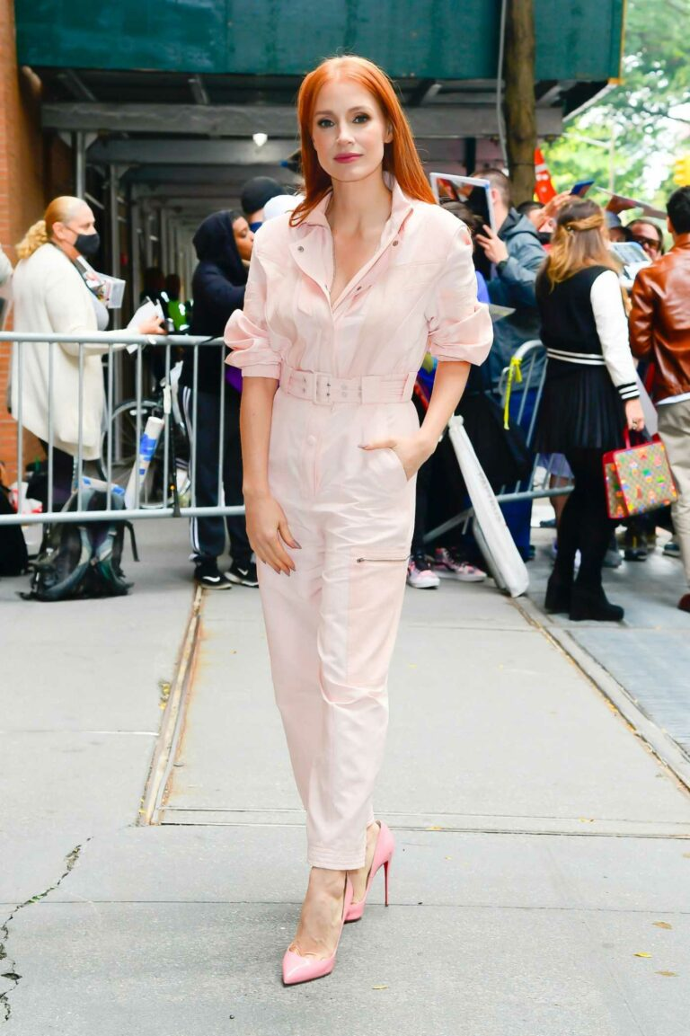 Jessica Chastain in a Pink Jumpsuit