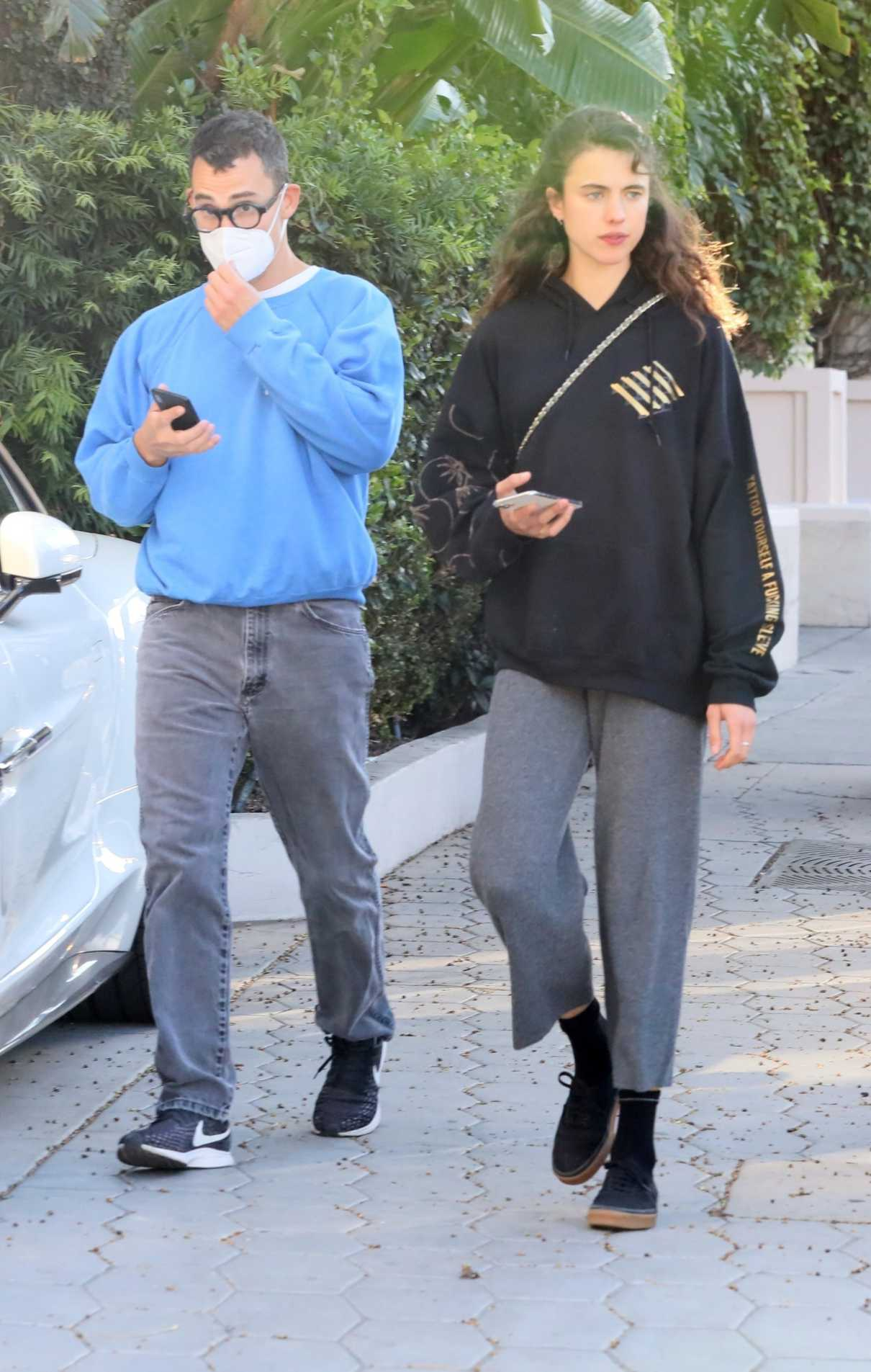 Margaret Qualley in a Black Hoodie Was Seen Out with Her Boyfriend in Los Angeles 10/12/2021