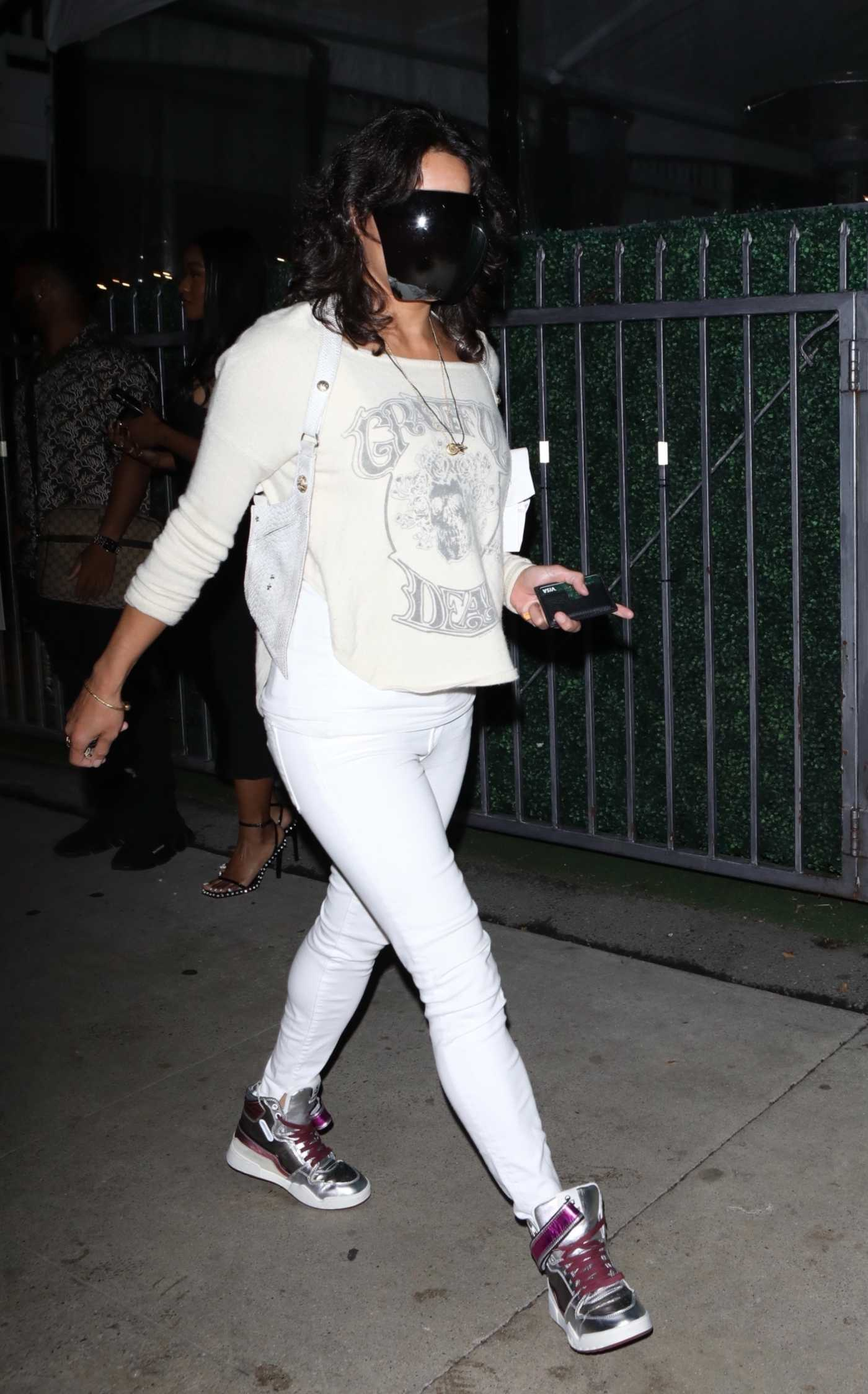 Michelle Rodriguez in a Black Protective Mask Leaves Dinner at Giorgio Baldi in Santa Monica 10/21/2021