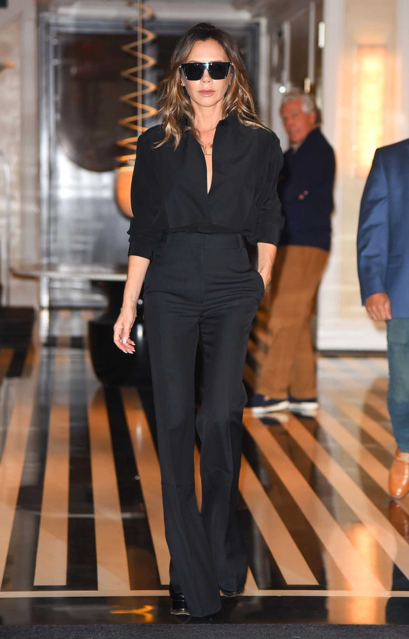 Victoria Beckham in a Black Outfit Leaves Her Hotel in New York 10/13/2021