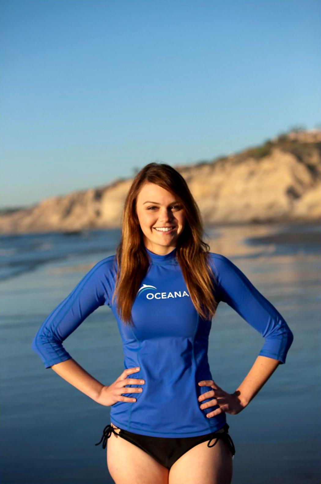 Aimee Teegarden filming a PSA for Oceana