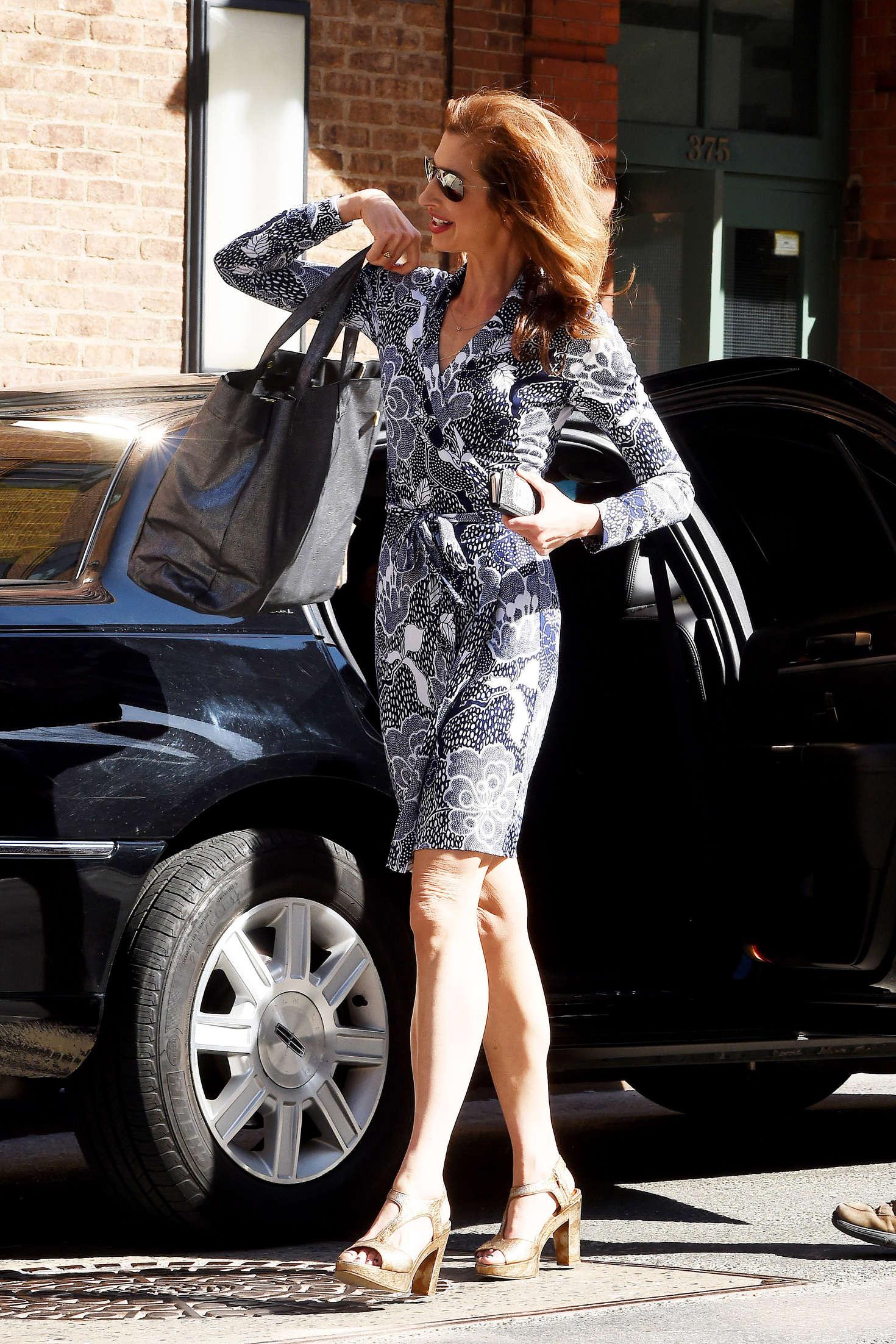 Alysia Reiner in Mini Dress out in Tribeca