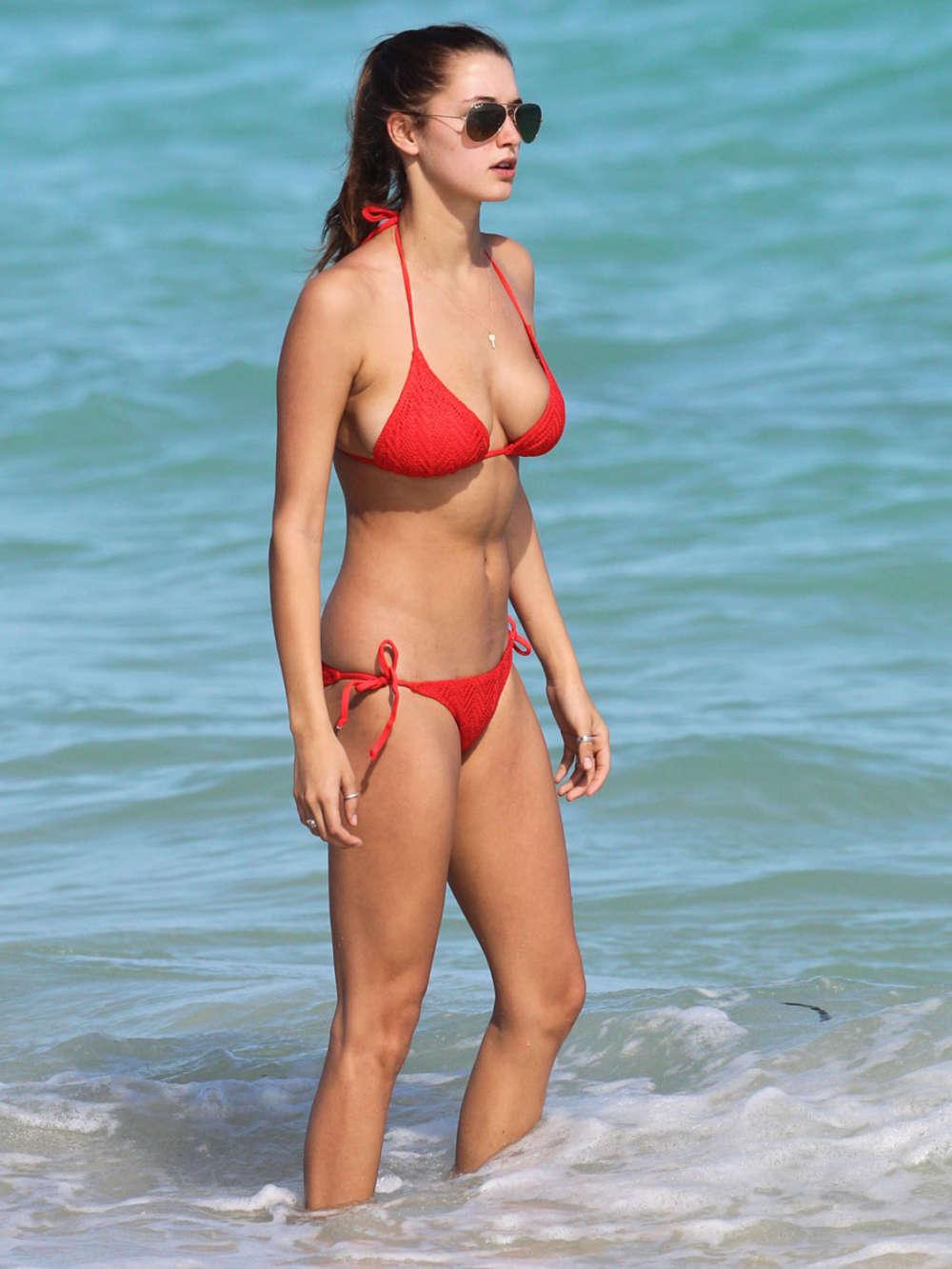 Alyssa Arce Wearing Red Bikini on the beach in Miami