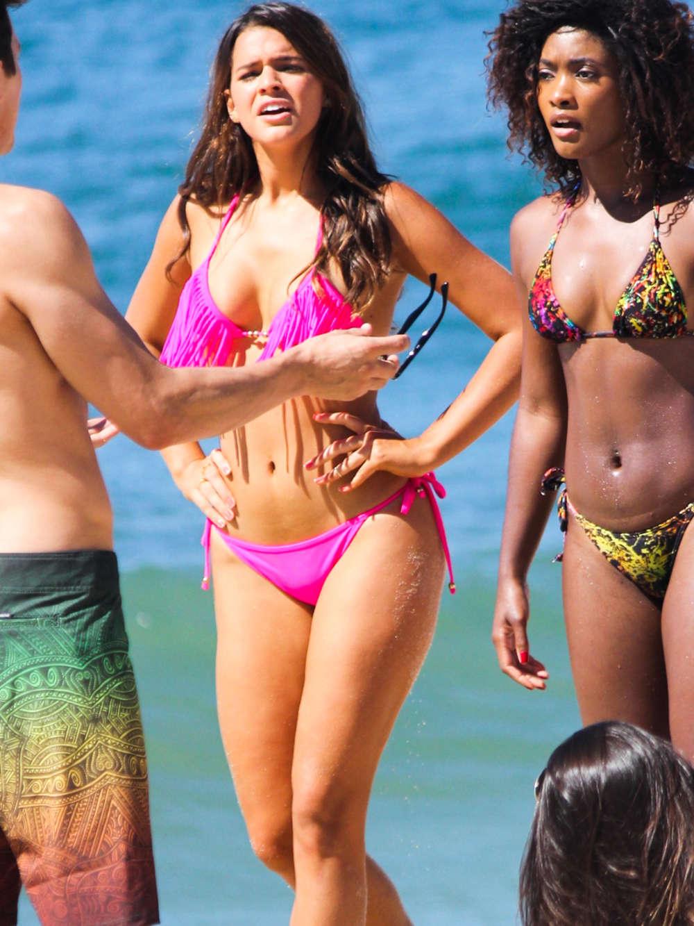 Bruna Marquezine Pink Bikini Candids in Brazil
